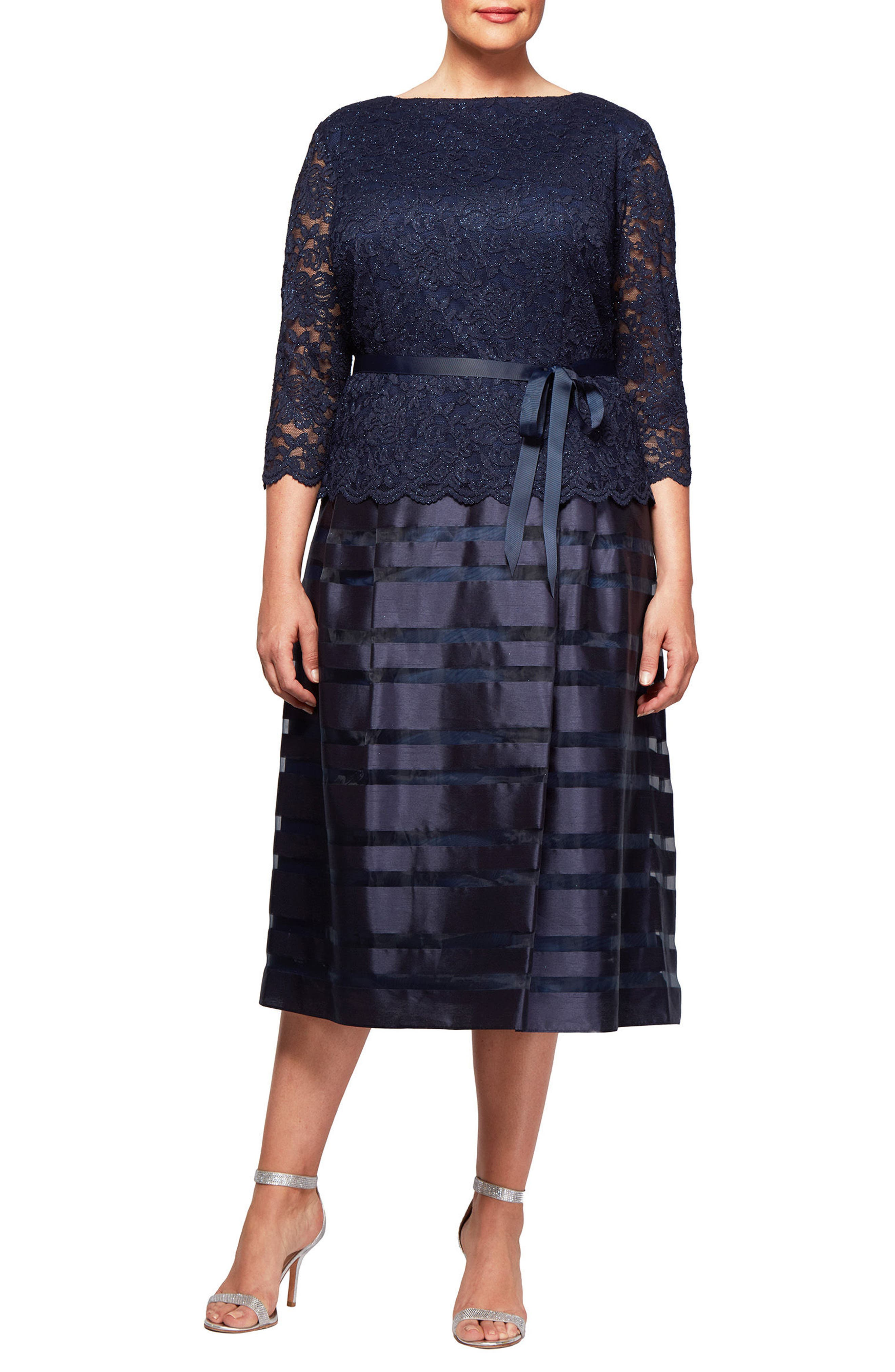 Mock Two-Piece A-Line Midi Dress,                         Main,                         color, Navy