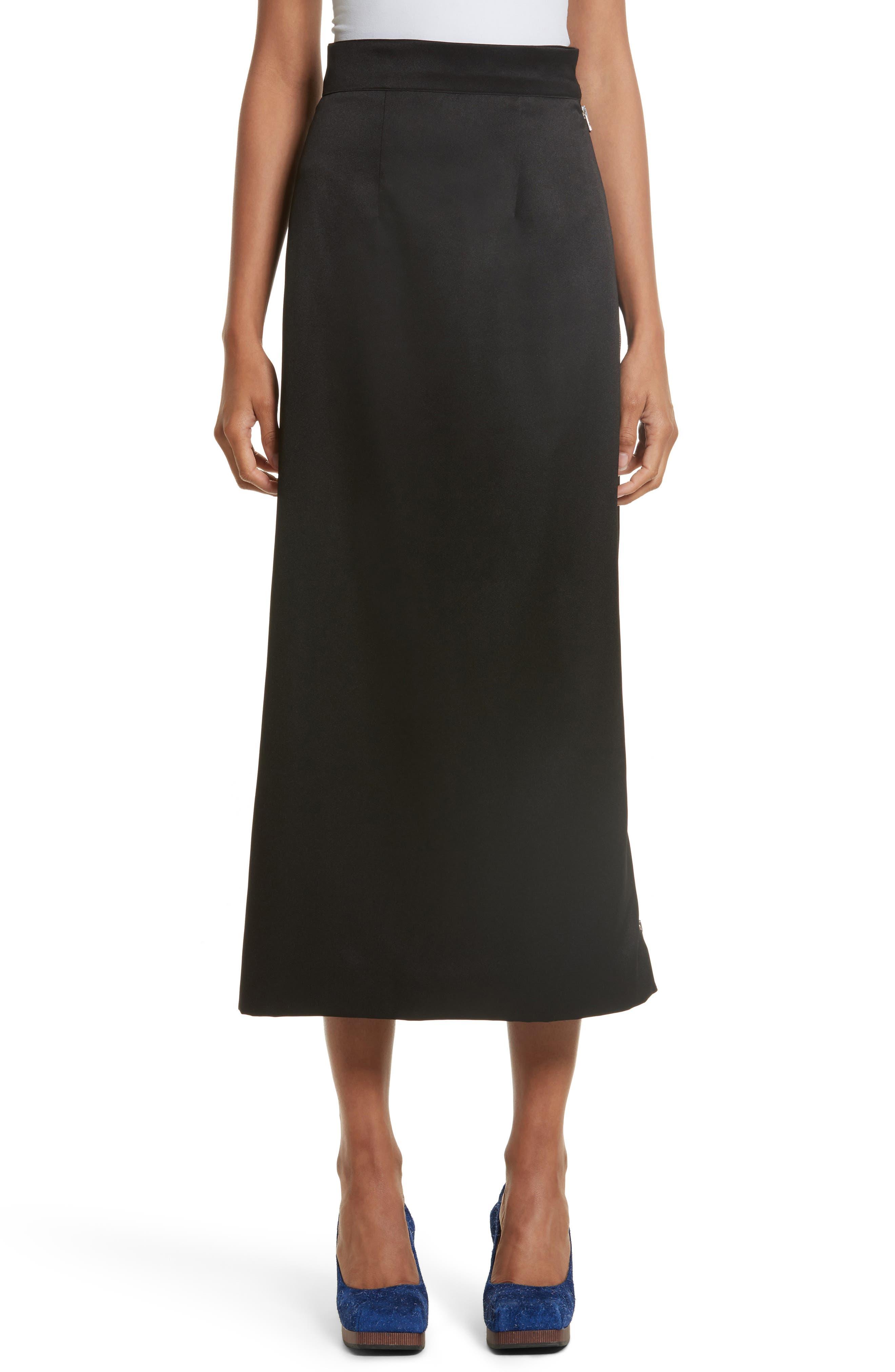 Side Zip Midi Skirt,                         Main,                         color, Black