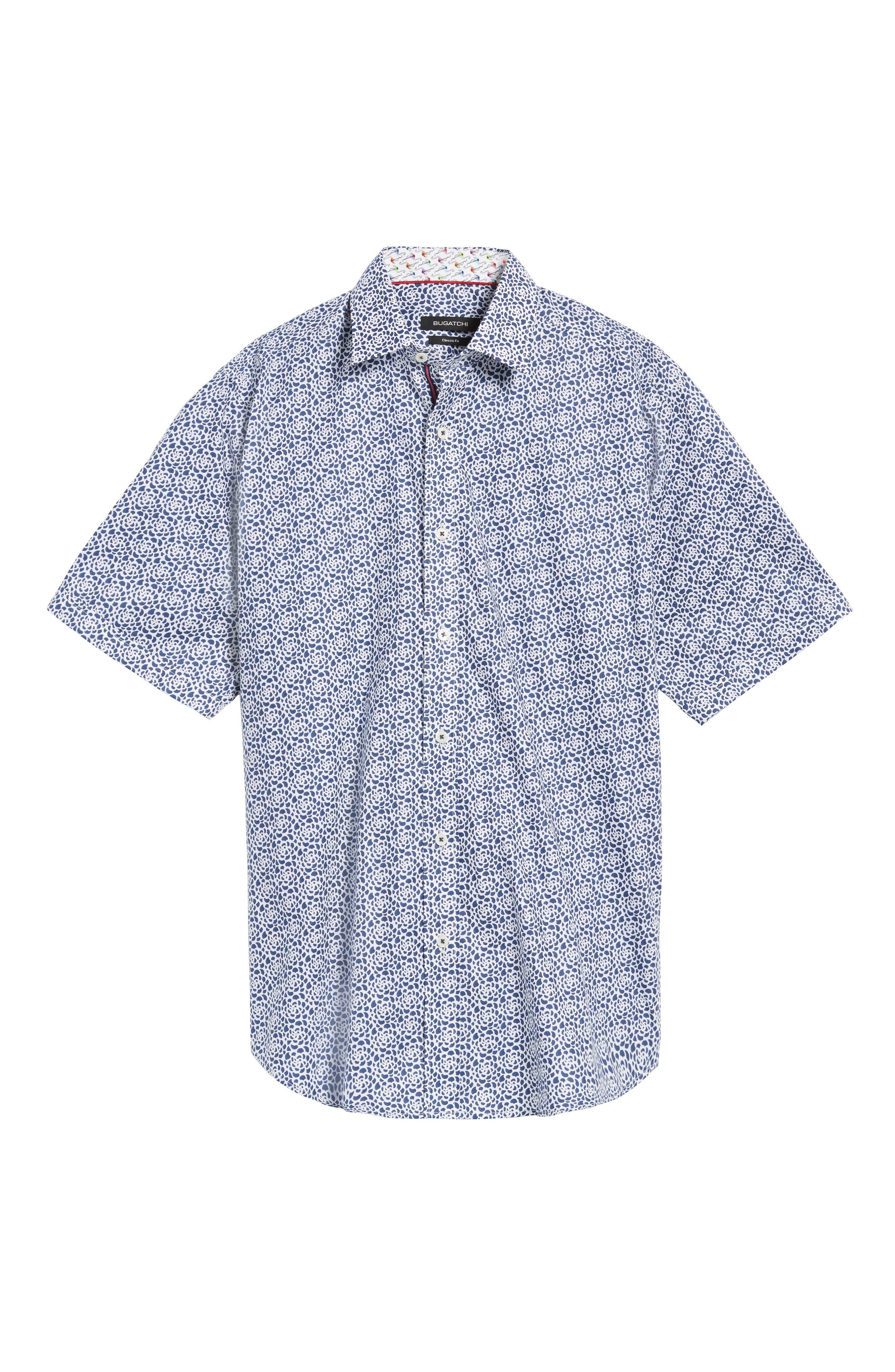 Classic Fit Print Short Sleeve Sport Shirt,                             Alternate thumbnail 6, color,                             Navy