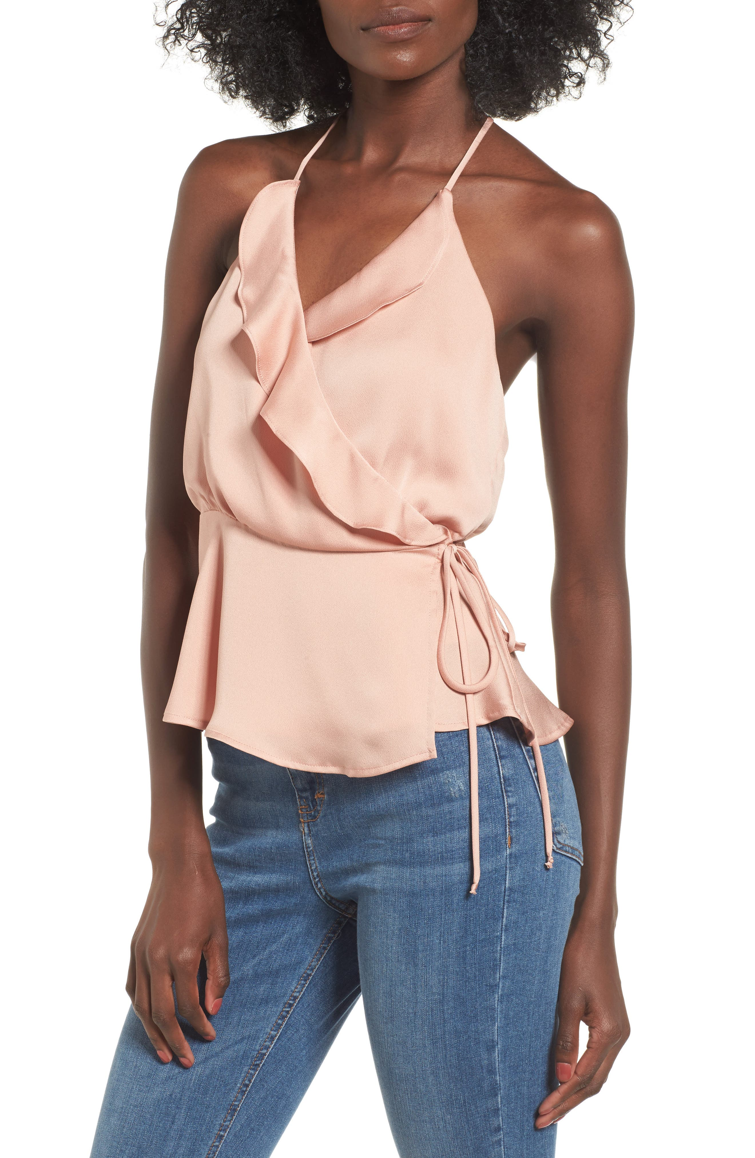 Main Image - ASTR the Label Ruffle Satin Wrap Tank