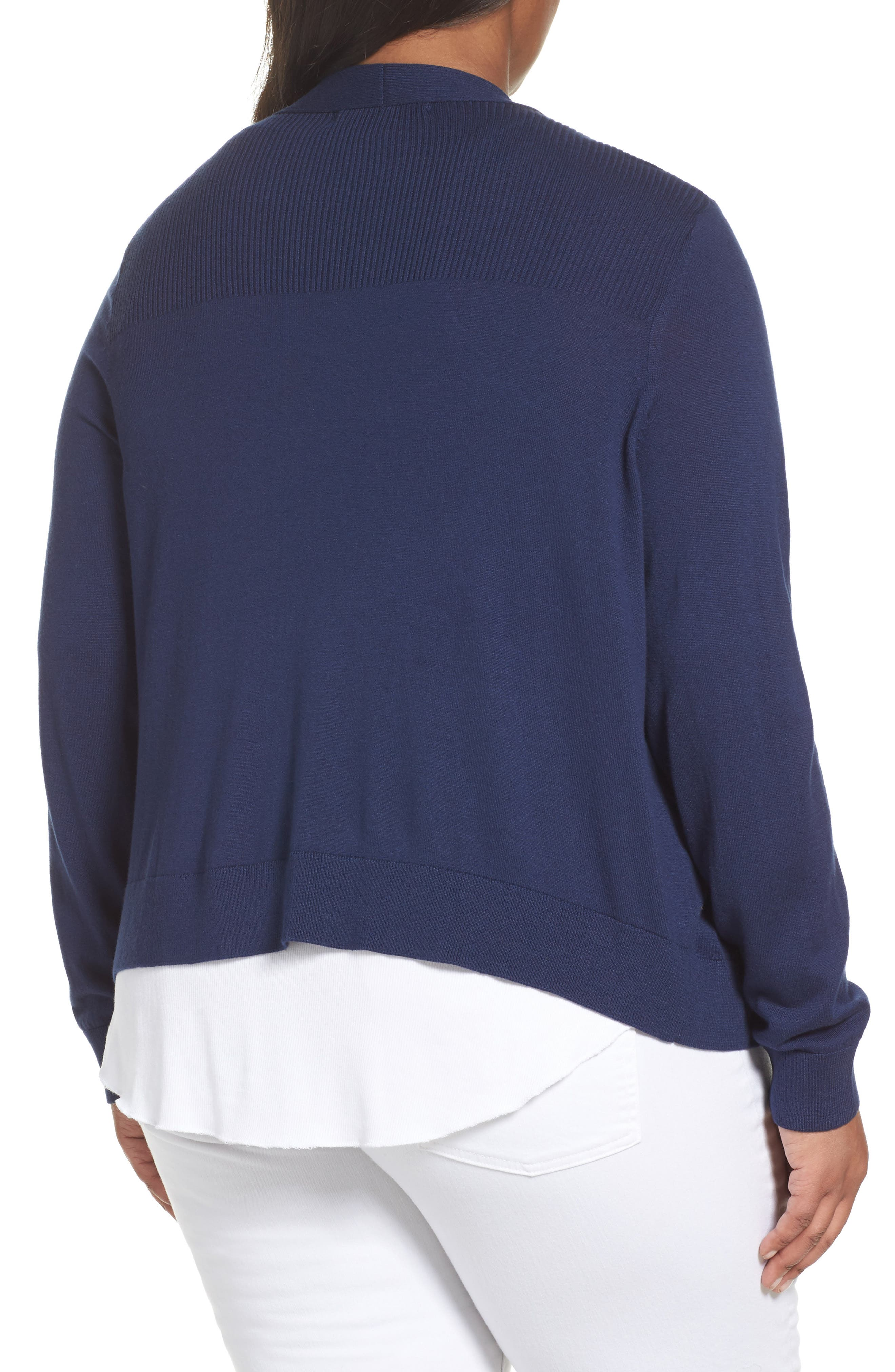 Crop Open Front Cardigan,                             Alternate thumbnail 2, color,                             Navy Medieval