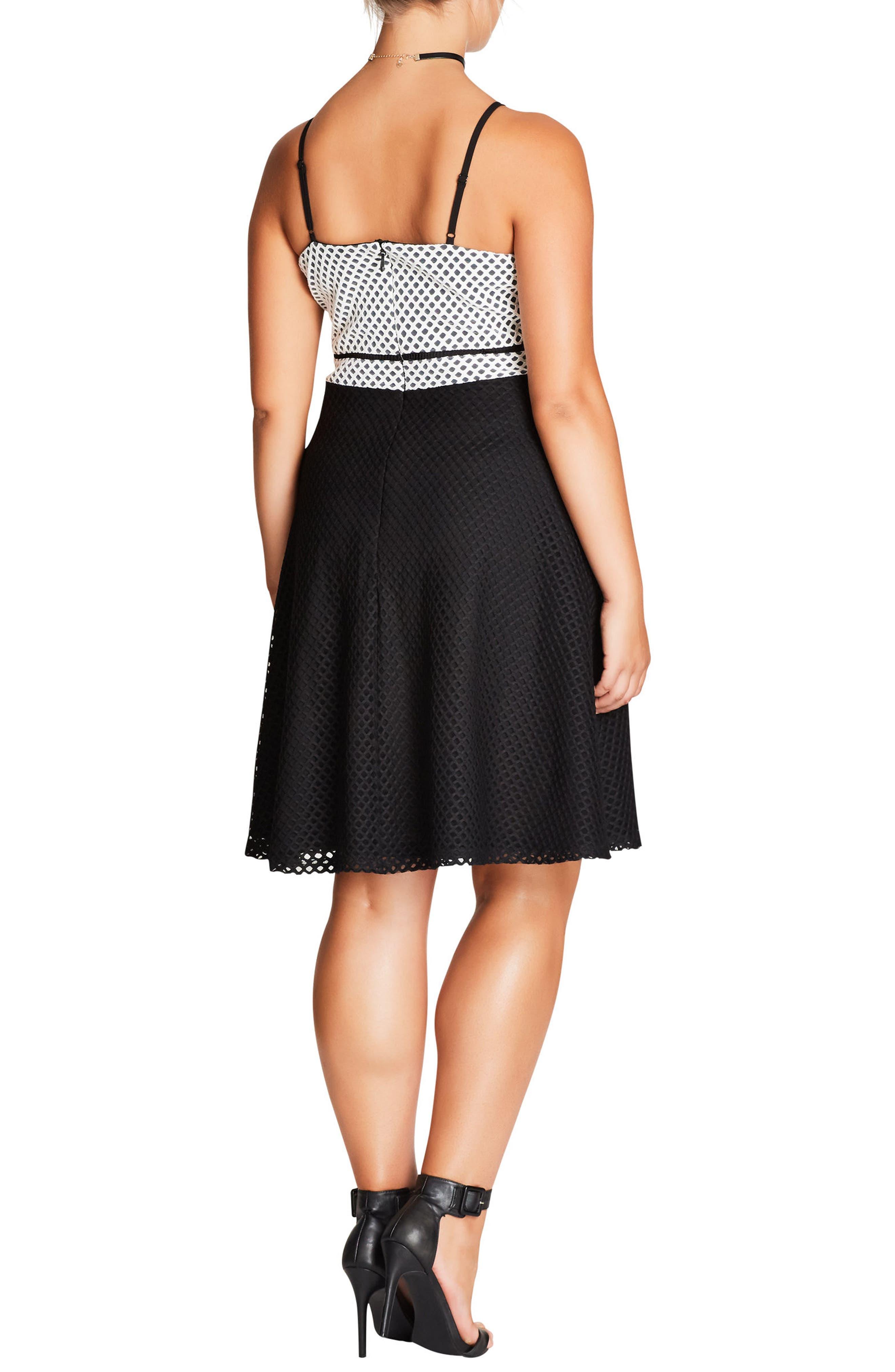 Geo Mesh Fit & Flare Dress,                             Alternate thumbnail 3, color,                             Black