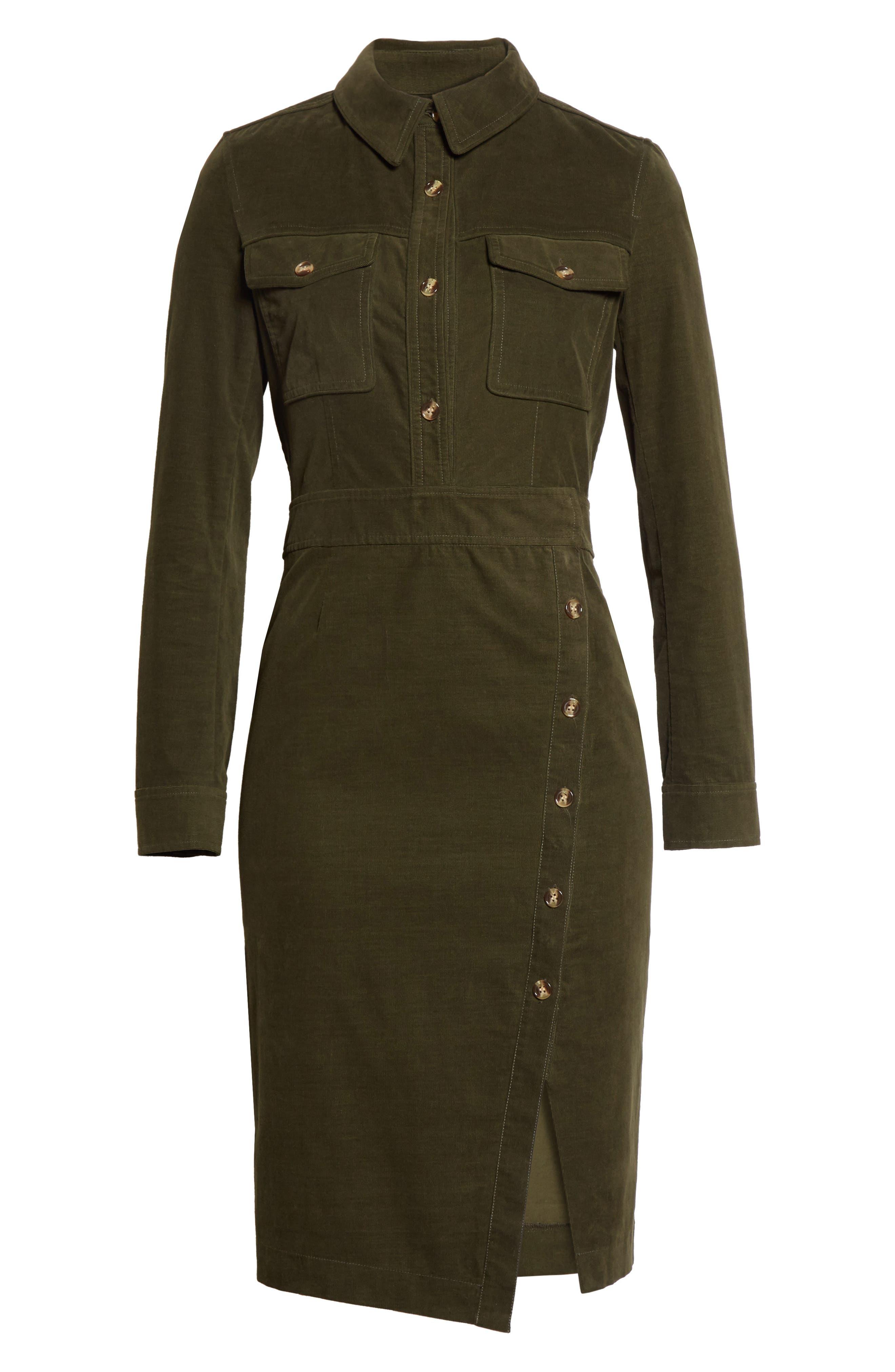 Britton Corduroy Shirtdress,                             Alternate thumbnail 6, color,                             Army Green