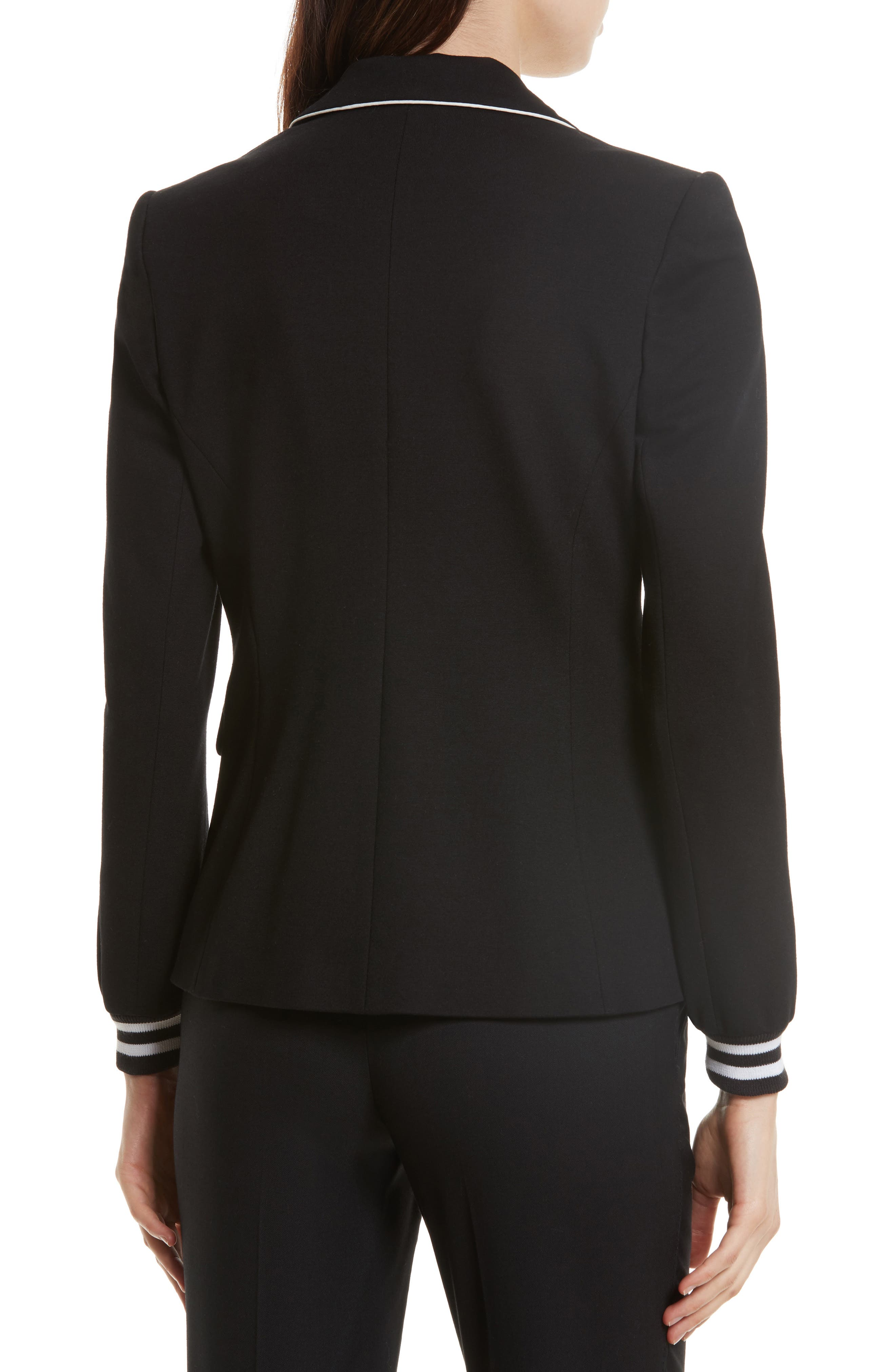 Piped Jersey Blazer,                             Alternate thumbnail 2, color,                             Black/ White