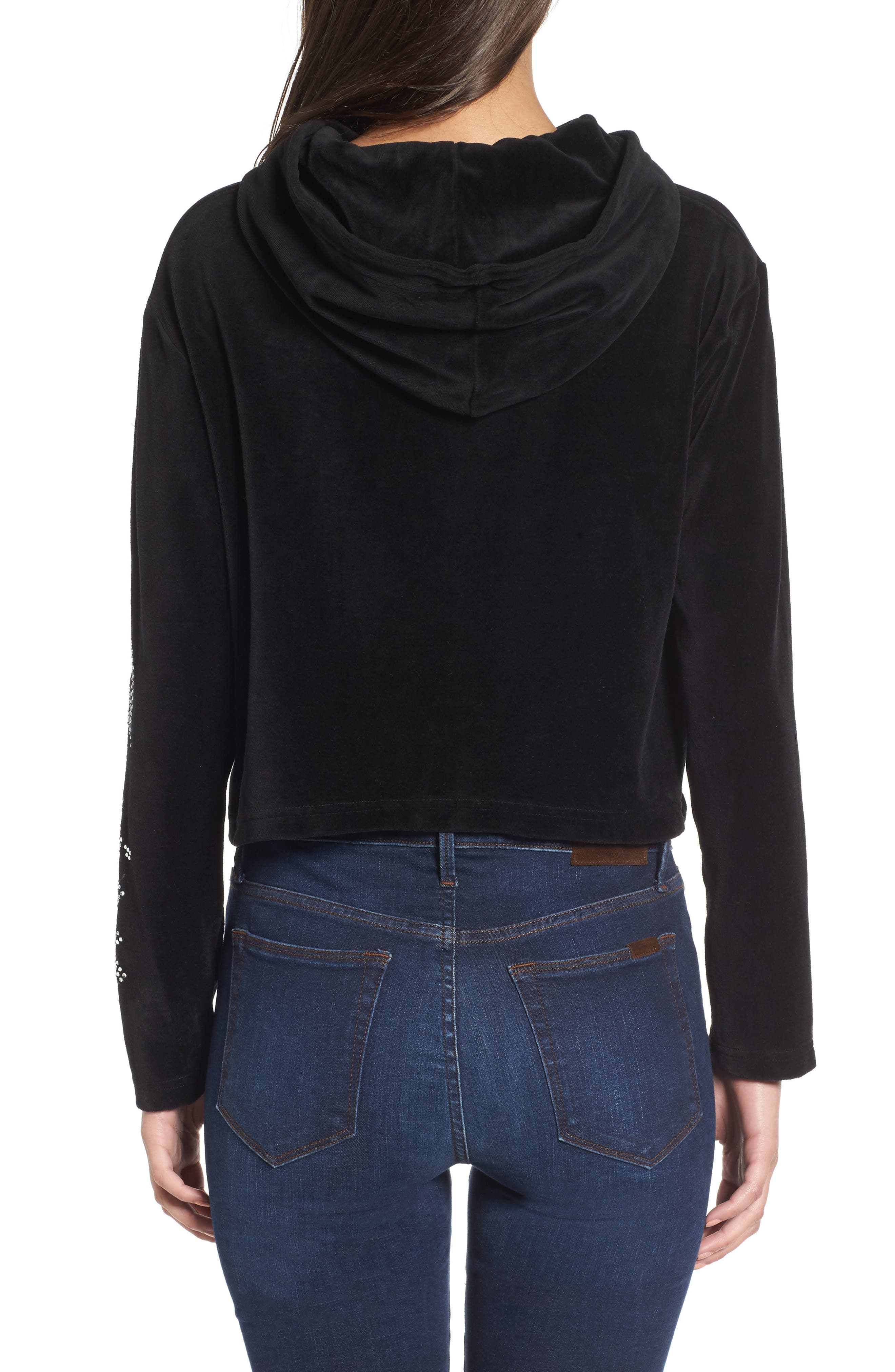 Alternate Image 2  - Juicy Couture Gothic Logo Velour Hoodie