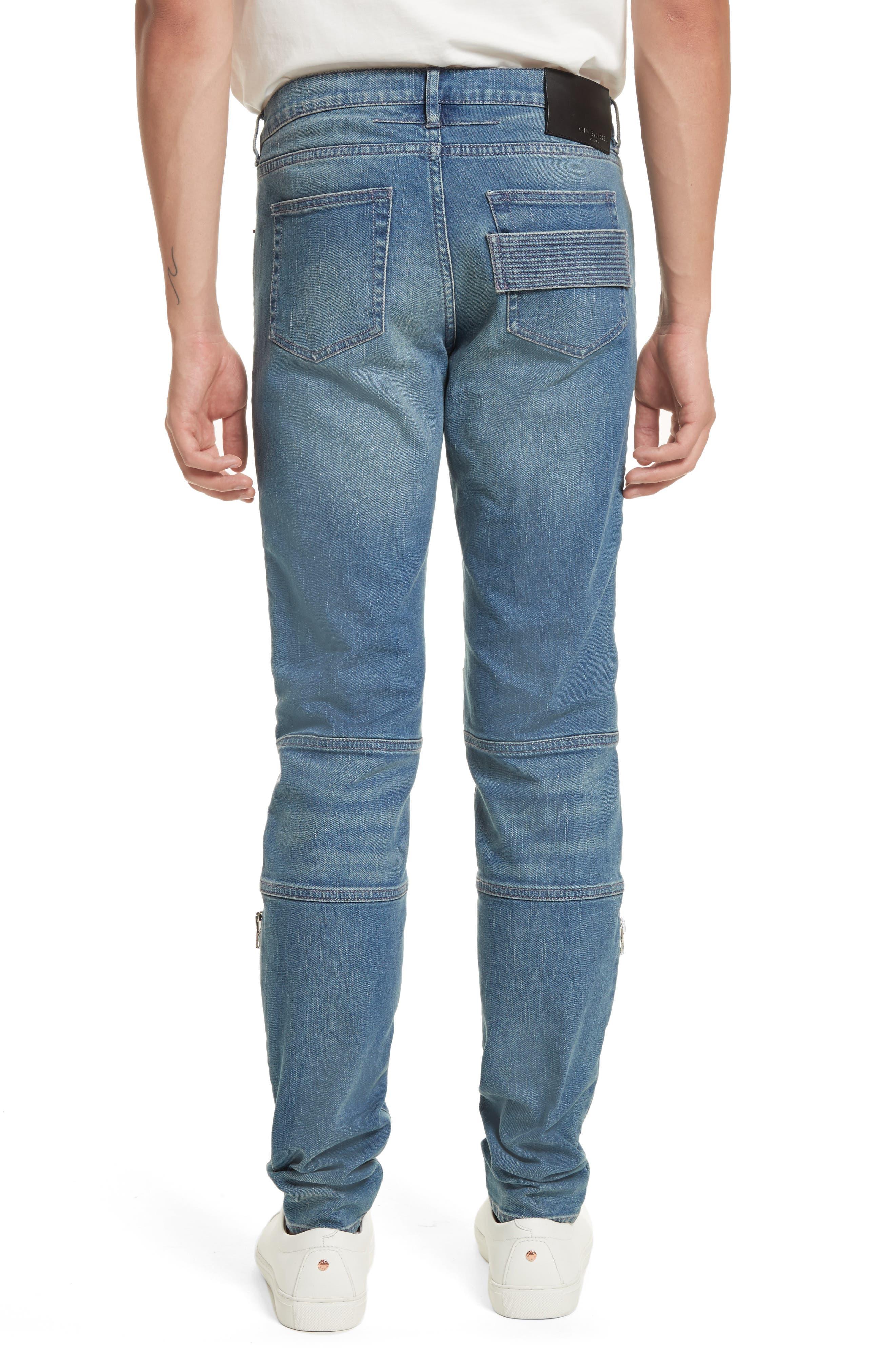 Zip Detail Biker Jeans,                             Alternate thumbnail 2, color,                             Light Blue