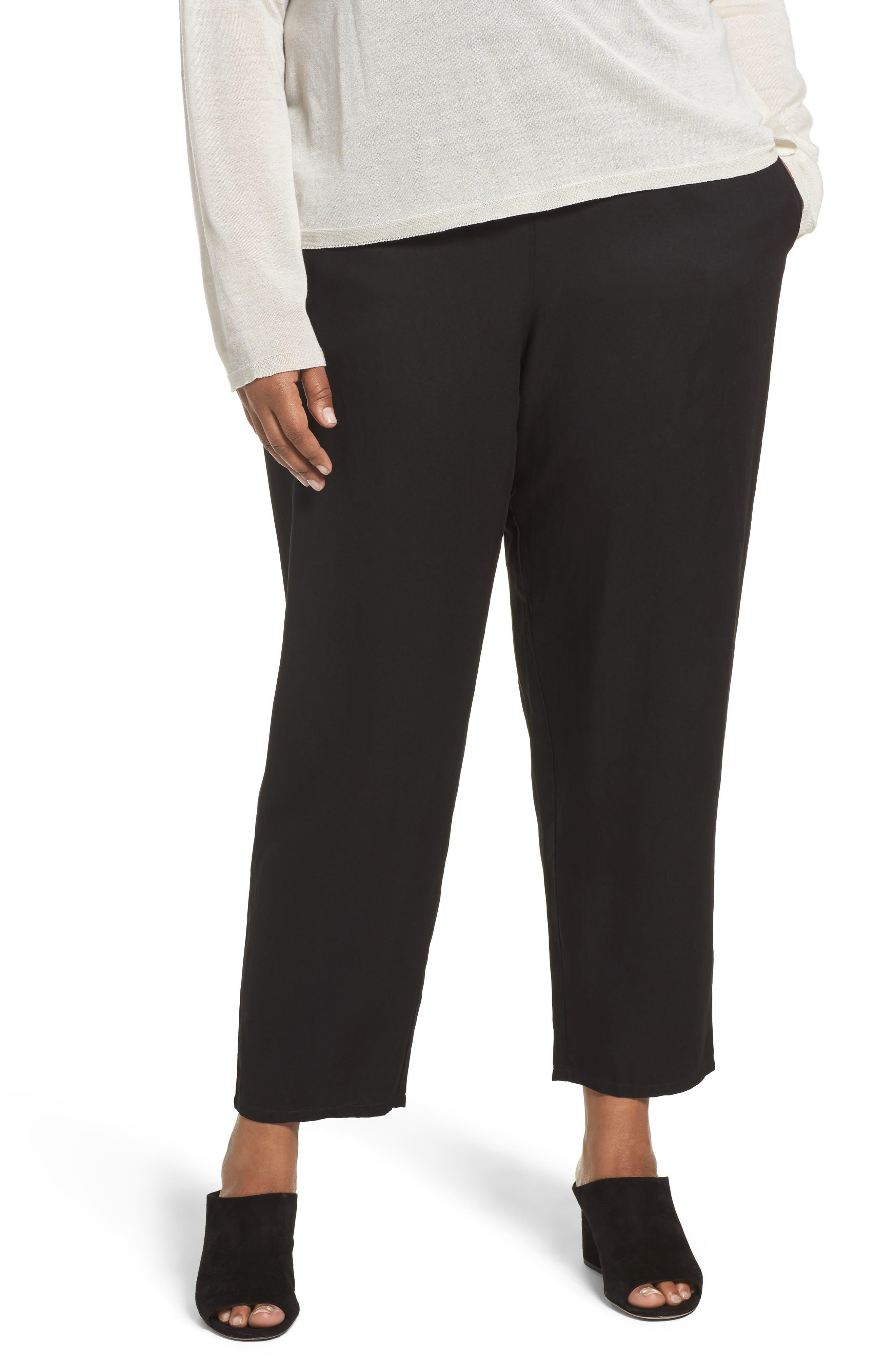 Tencel<sup>®</sup> & Linen Ankle Pants,                         Main,                         color, Black