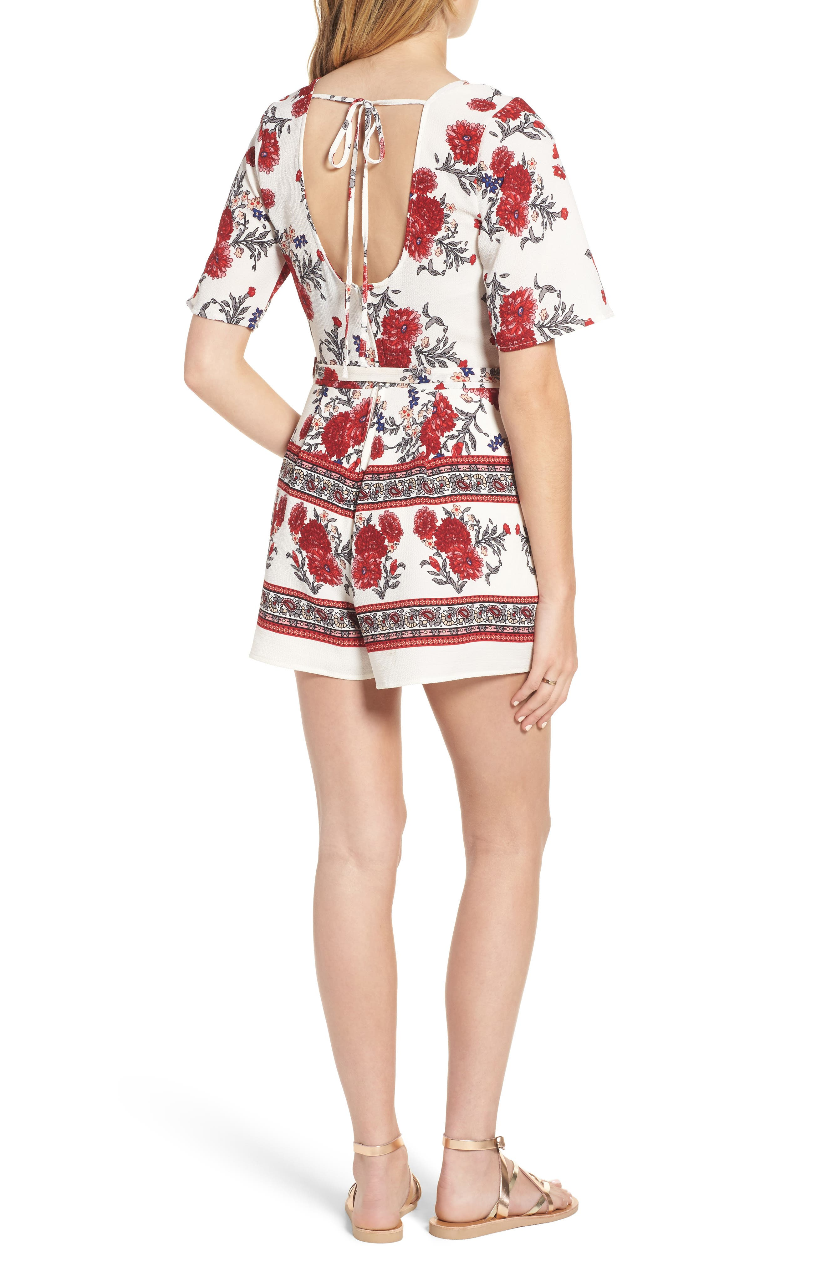 Alternate Image 2  - Row A Border Print Faux Wrap Romper