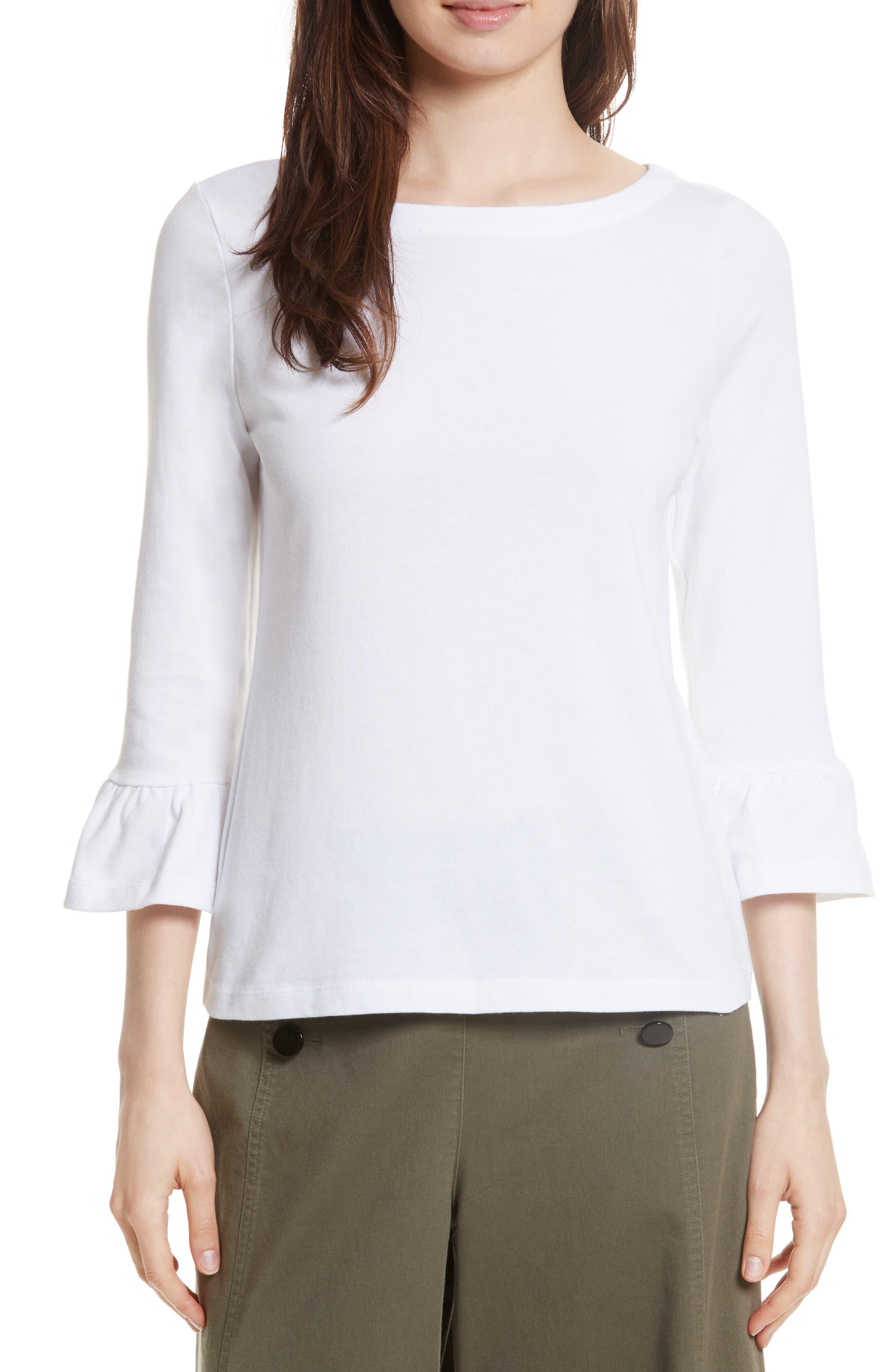 flounce sleeve knit top,                         Main,                         color, White