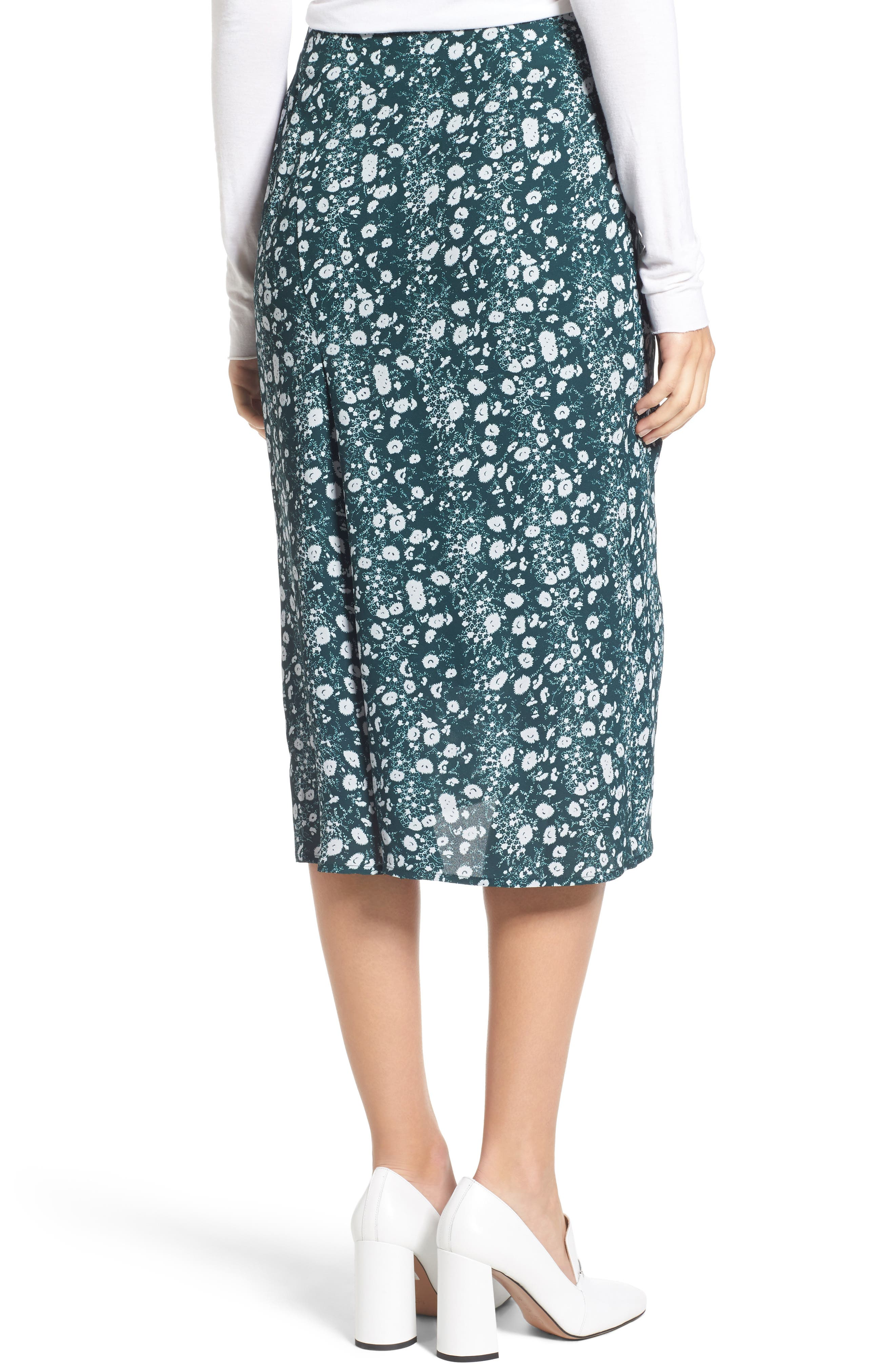 Print Skirt,                             Alternate thumbnail 2, color,                             Green Clara Floral Print