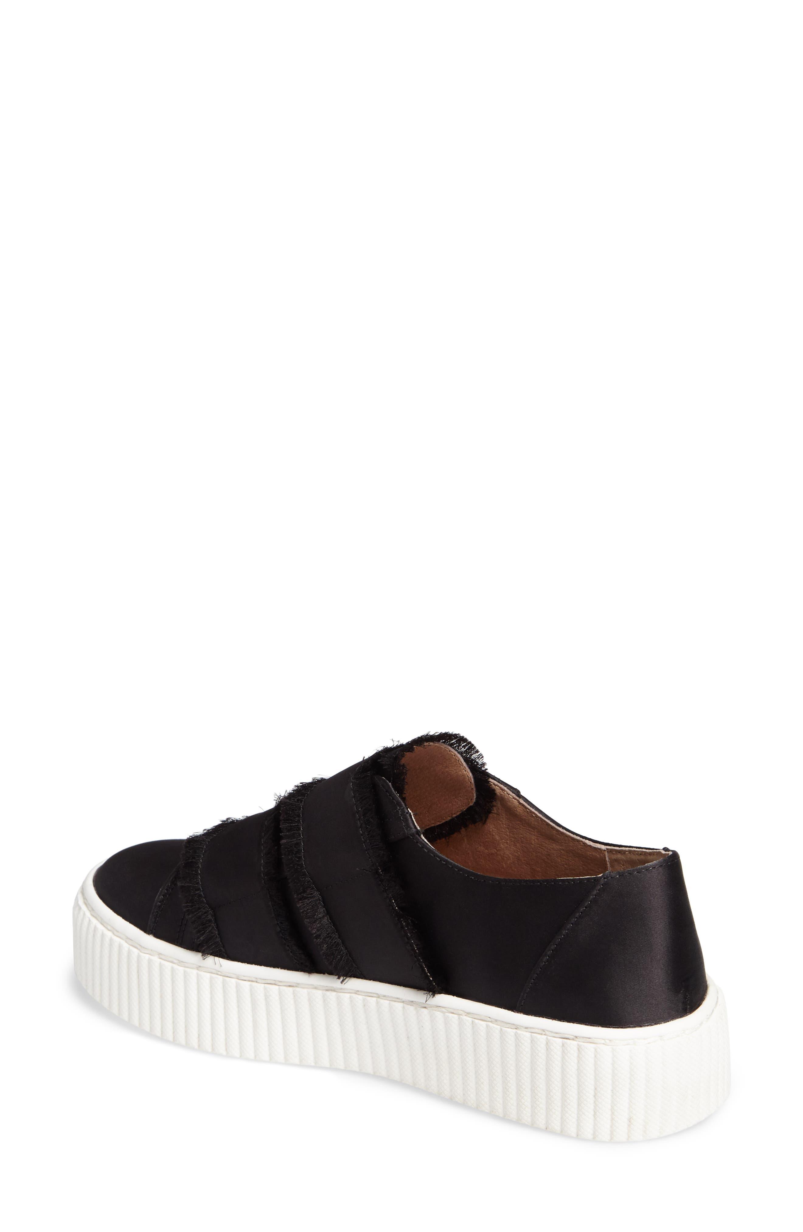 Elder Fringed Platform Sneaker,                             Alternate thumbnail 2, color,                             Black