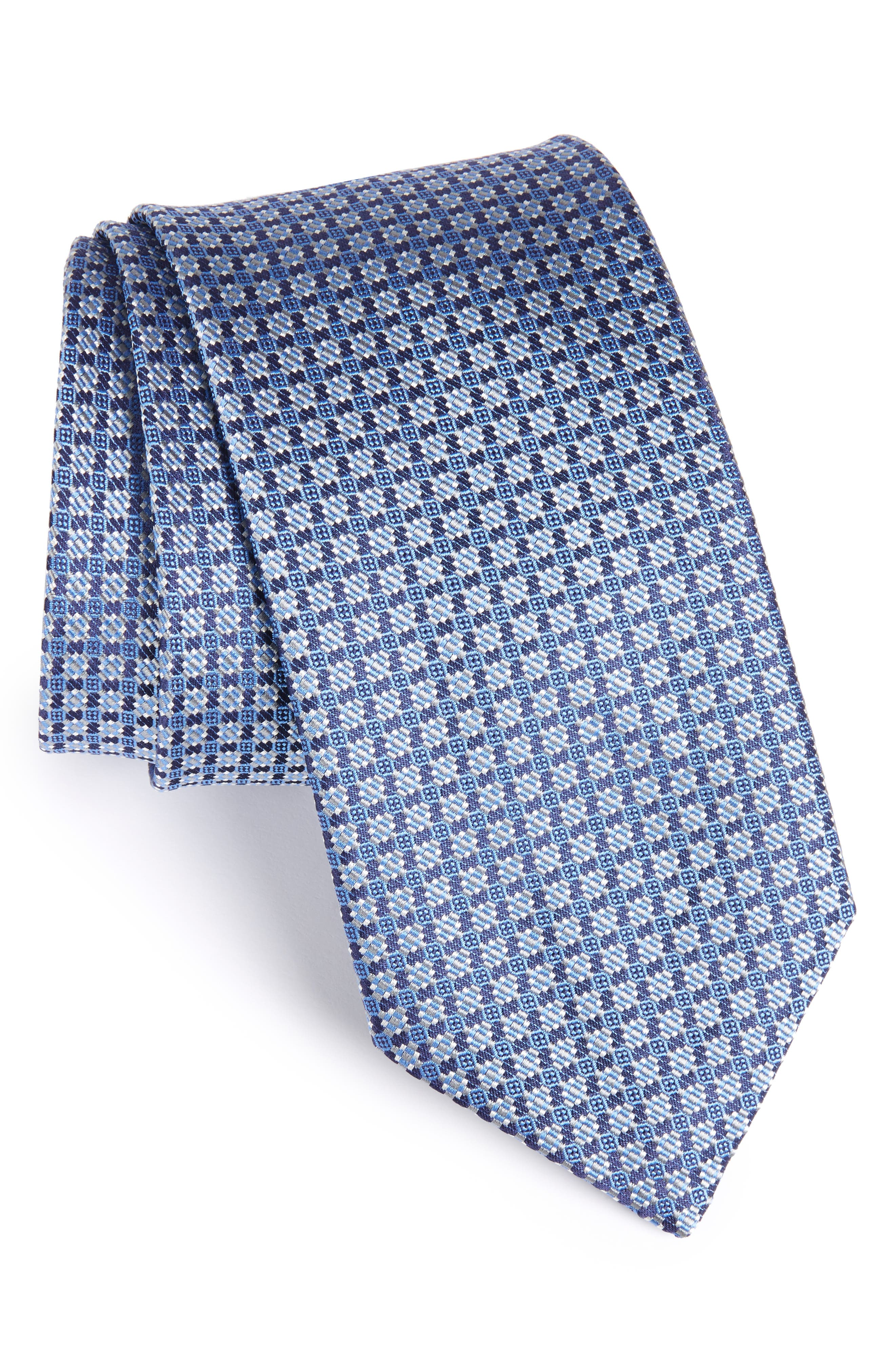 Neat Silk Tie,                             Main thumbnail 1, color,                             Blue/ Grey