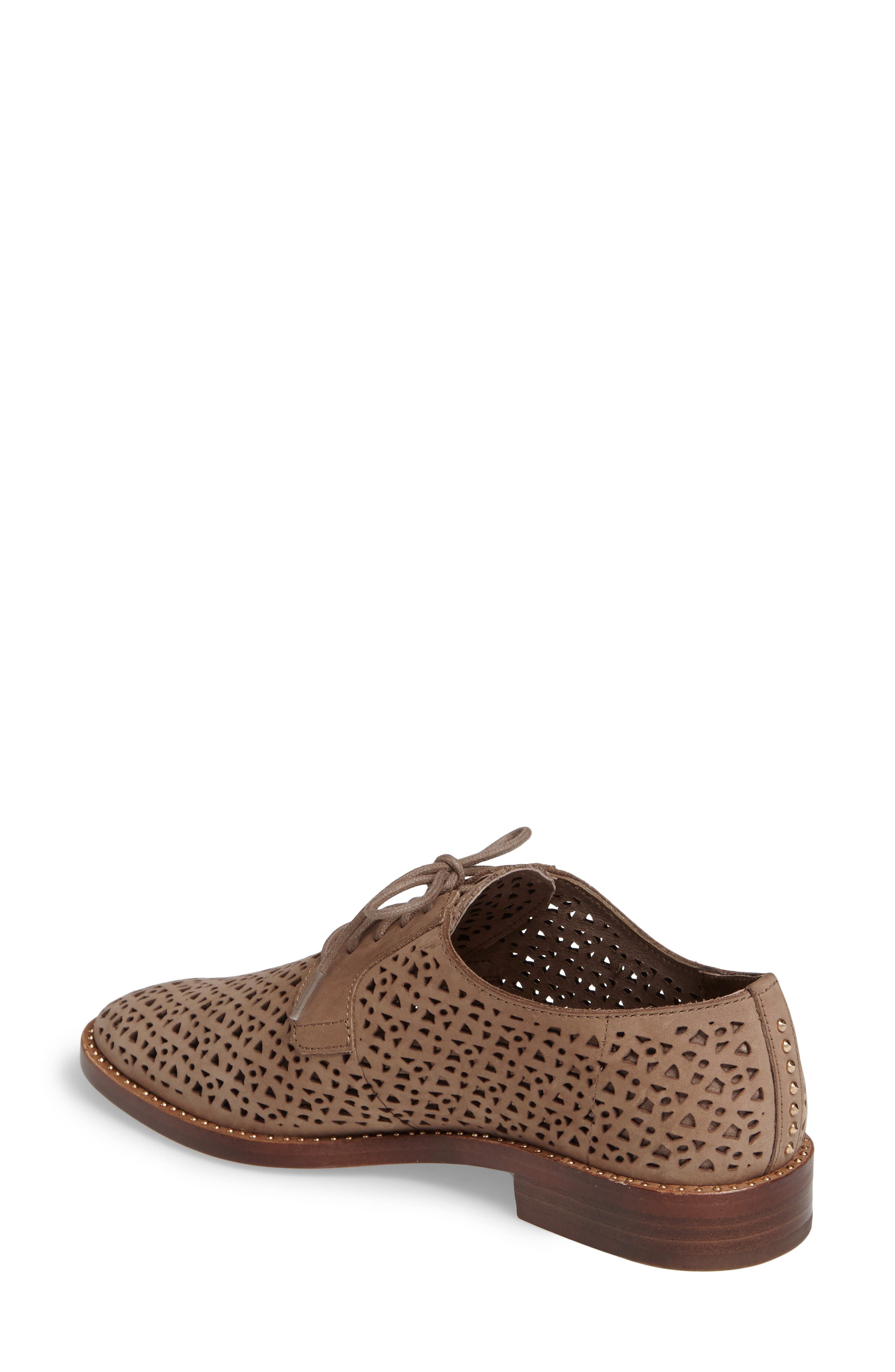 Lesta Geo Perforated Oxford,                             Alternate thumbnail 2, color,                             French Taupe Suede