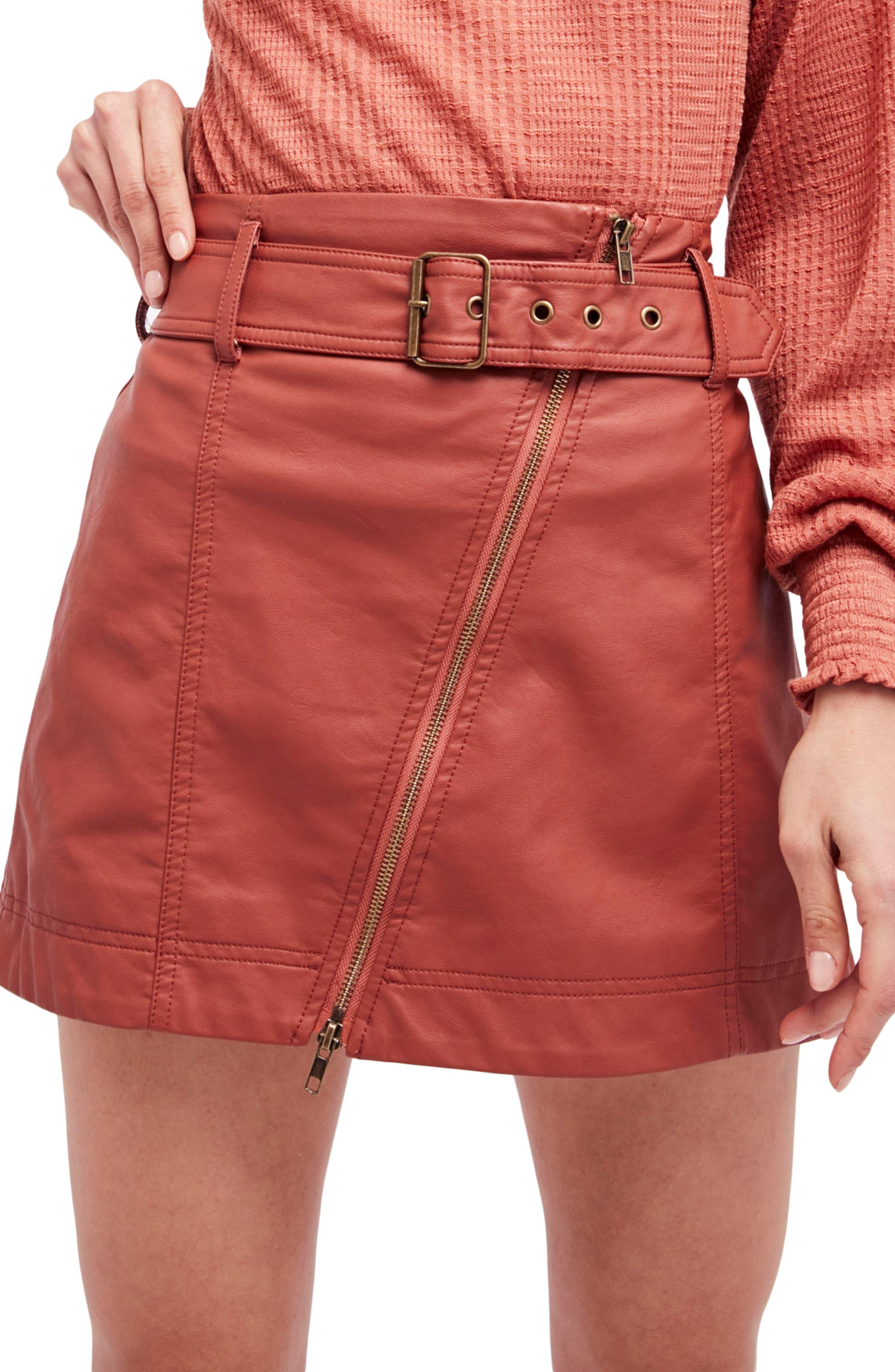 FREE PEOPLE Feelin Fresh Faux Leather Moto Skirt