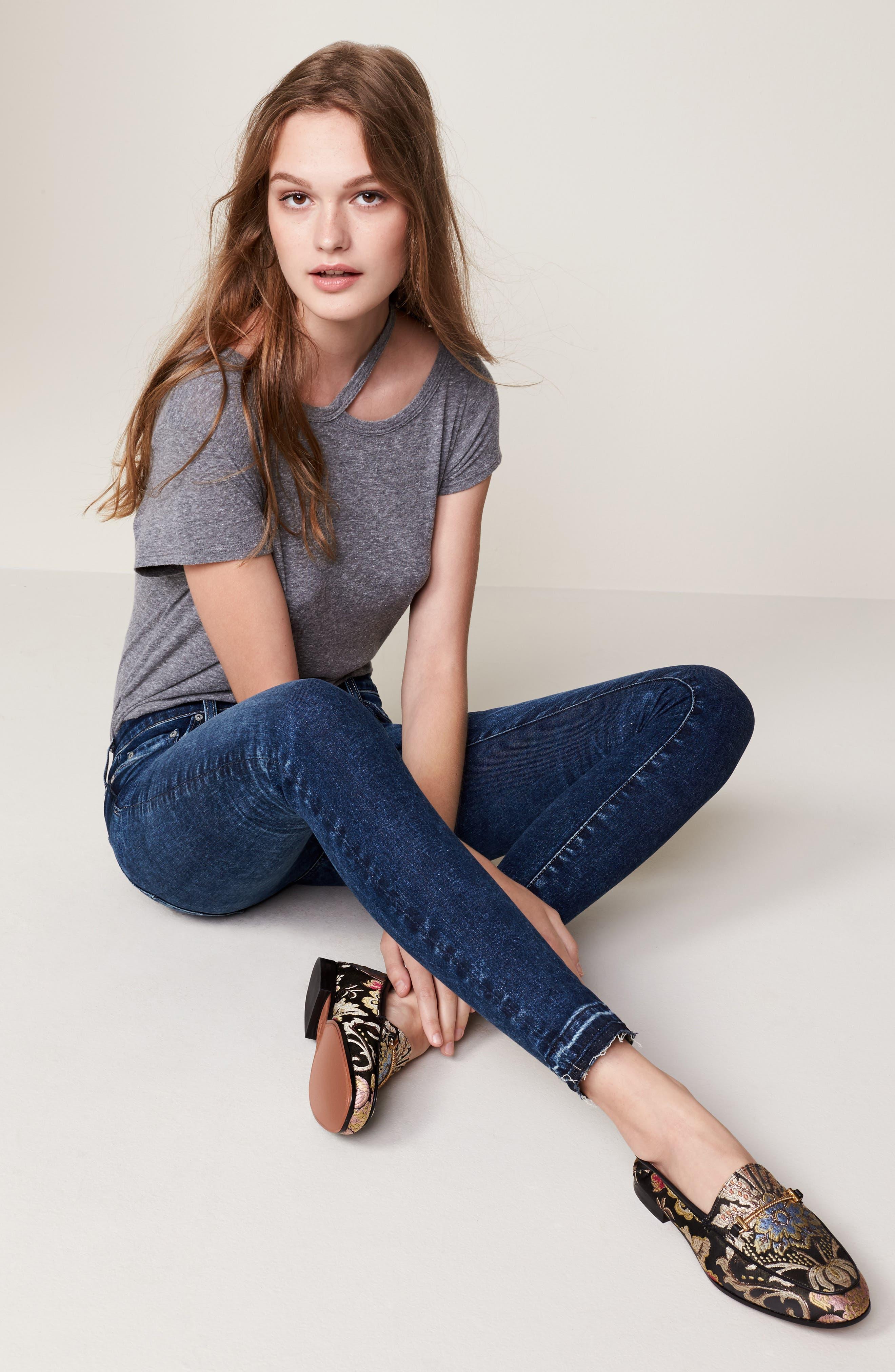 Alternate Image 8  - AG The Farrah High Waist Ankle Skinny Jeans (Thirteen)