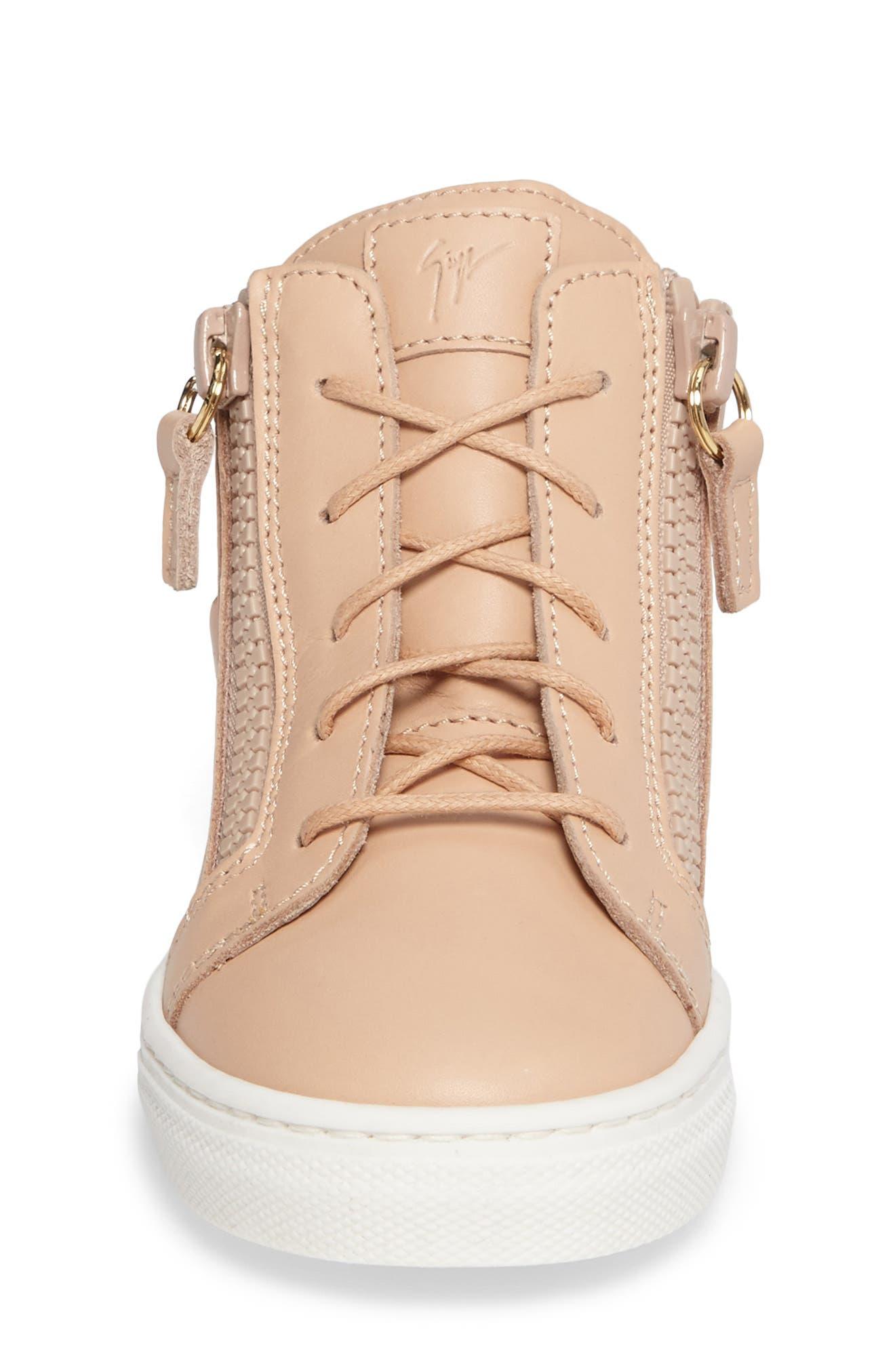 Foglia Embellished Zip Sneaker,                             Alternate thumbnail 4, color,                             Shell Leather