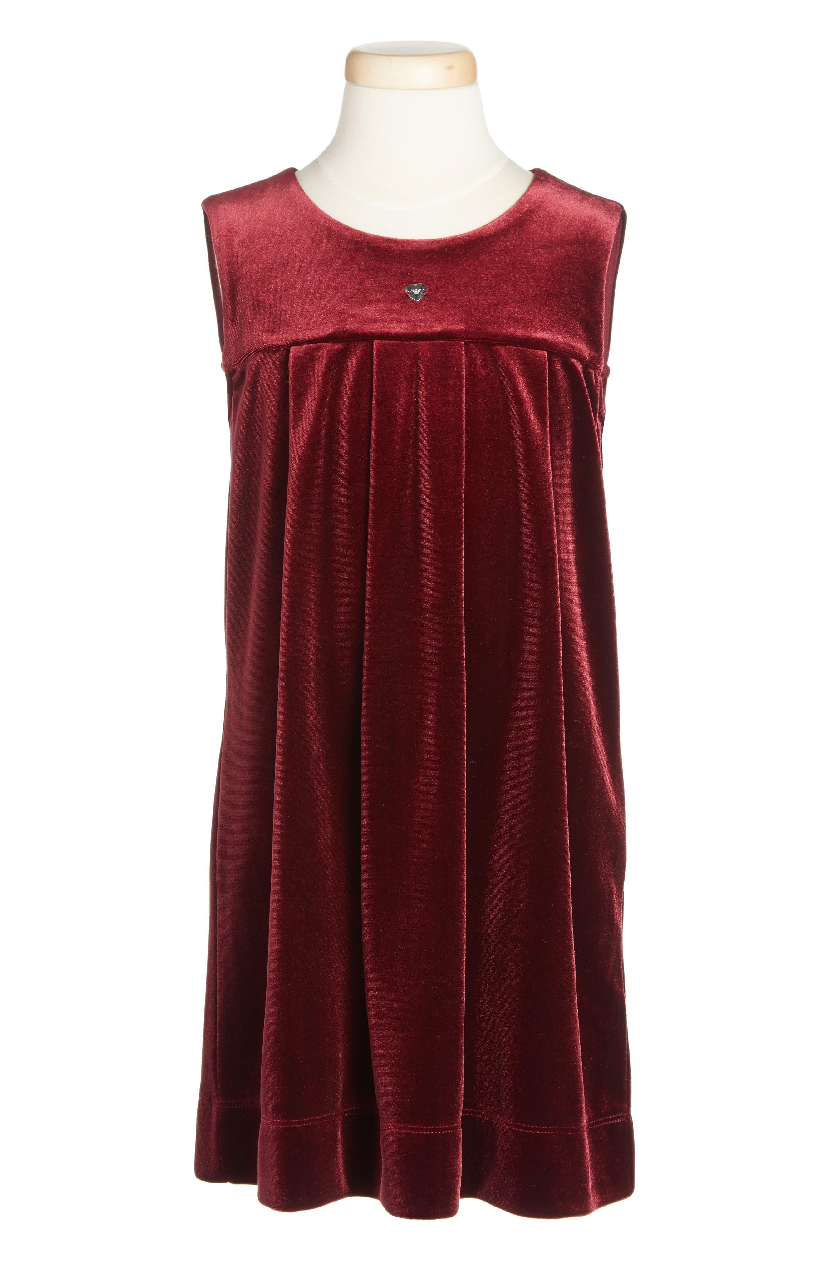 ARMANI JUNIOR Sleeveless Velvet Dress