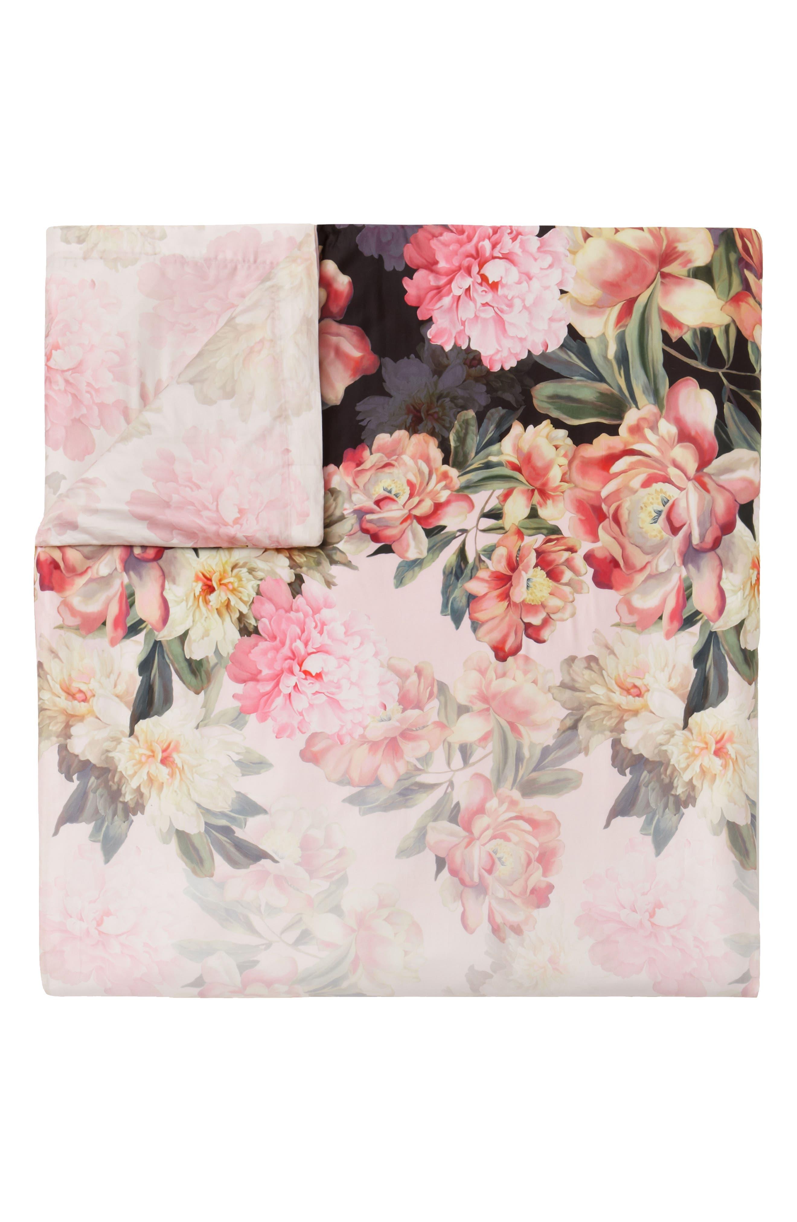Painted Posie Duvet Cover & Sham Set,                             Alternate thumbnail 2, color,                             Pink/ Multi