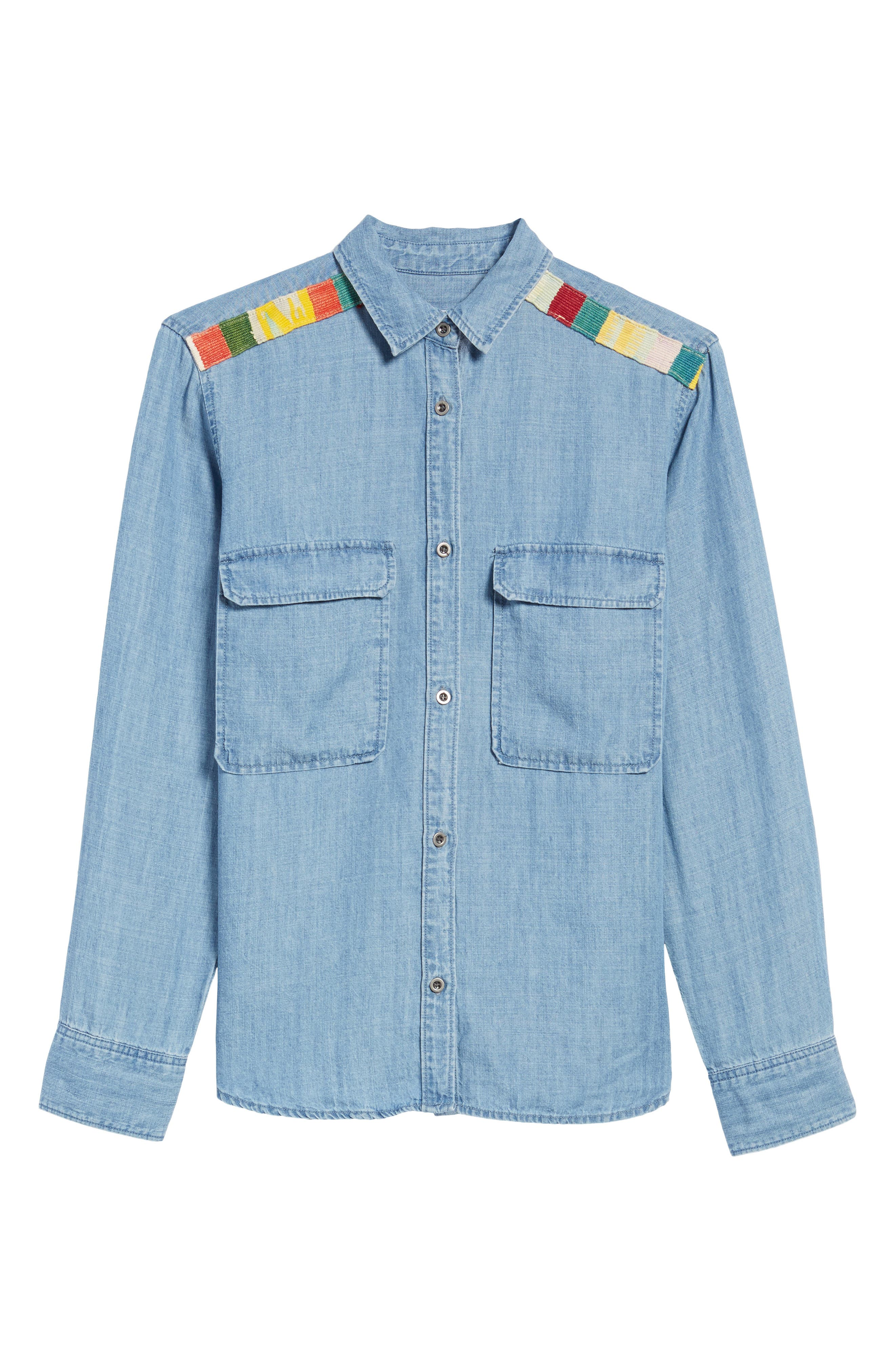 Jimi Chambray Shirt,                             Alternate thumbnail 6, color,                             Medium Vintage Wash