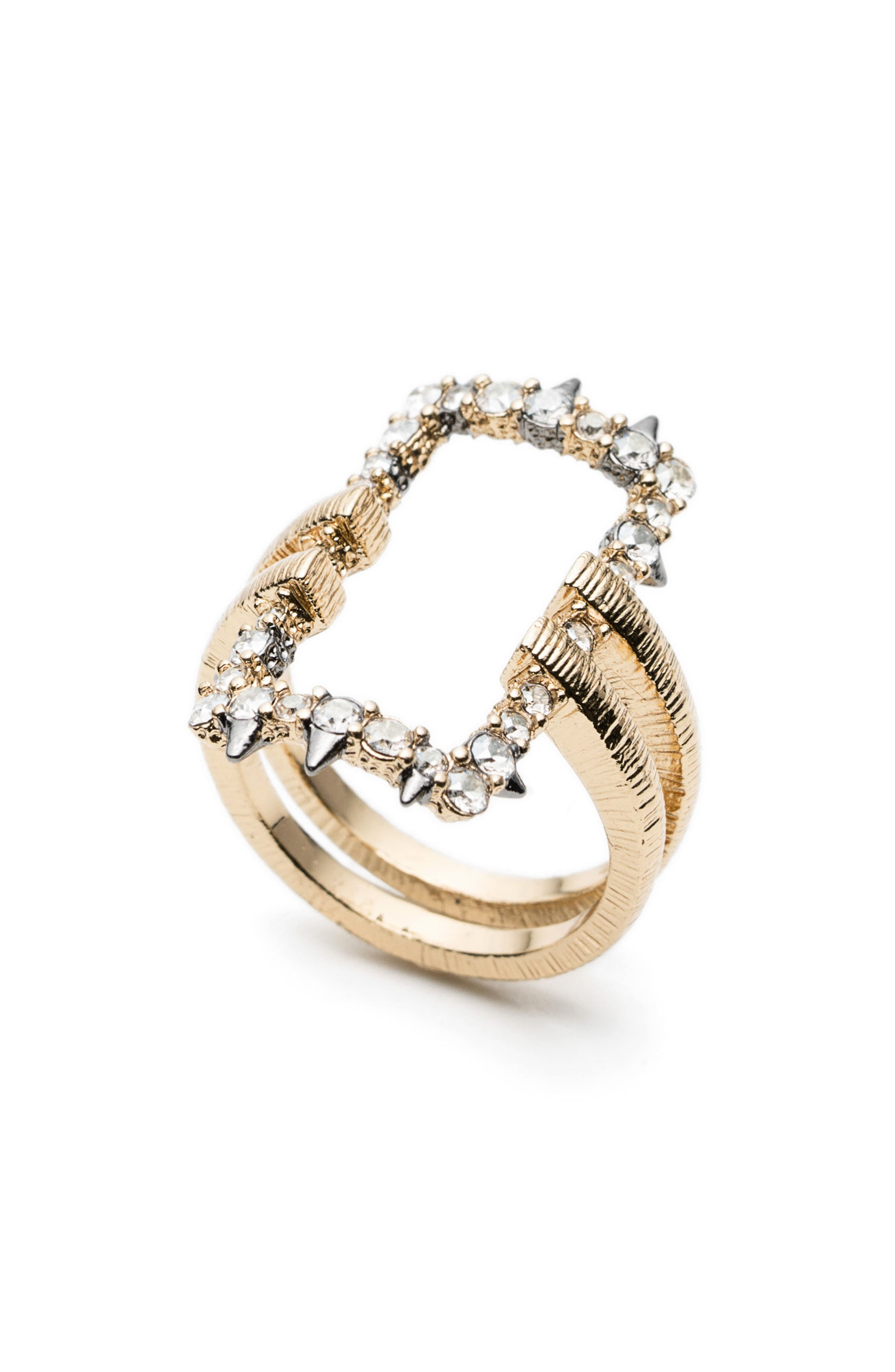Elements Crystal Encrusted Ring,                             Alternate thumbnail 2, color,                             Gold