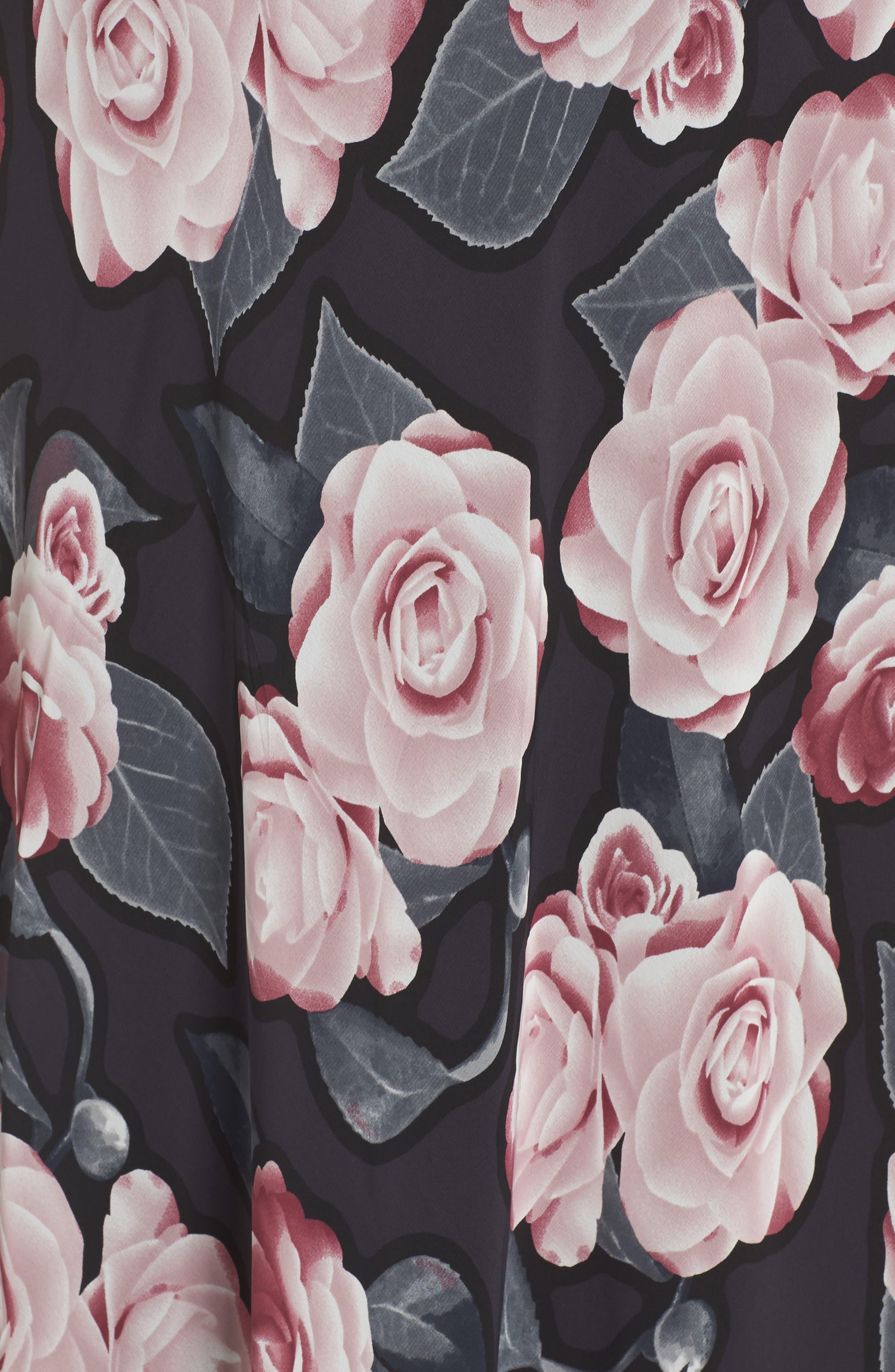 Tossed Rosewood Midi Dress,                             Alternate thumbnail 5, color,                             Rosewood Grey