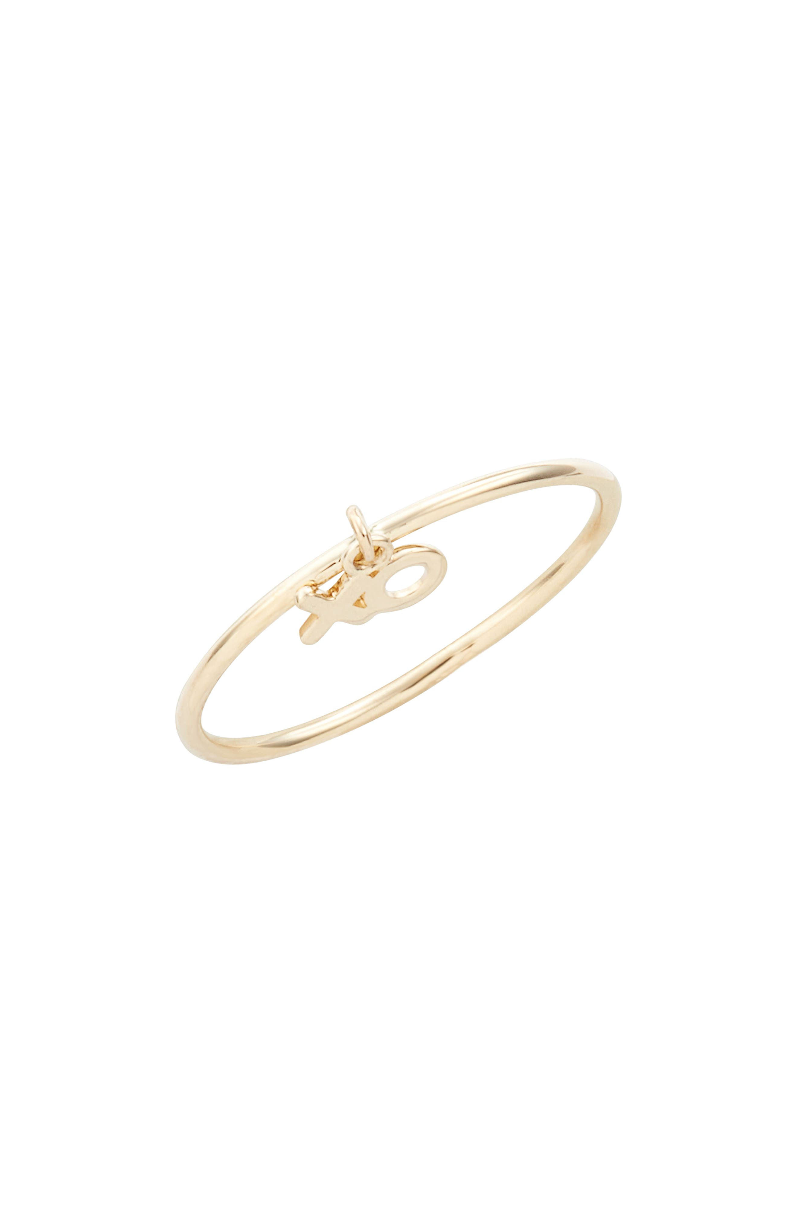 Skinny Dangling XO Charm Ring,                             Main thumbnail 1, color,                             Yellow Gold