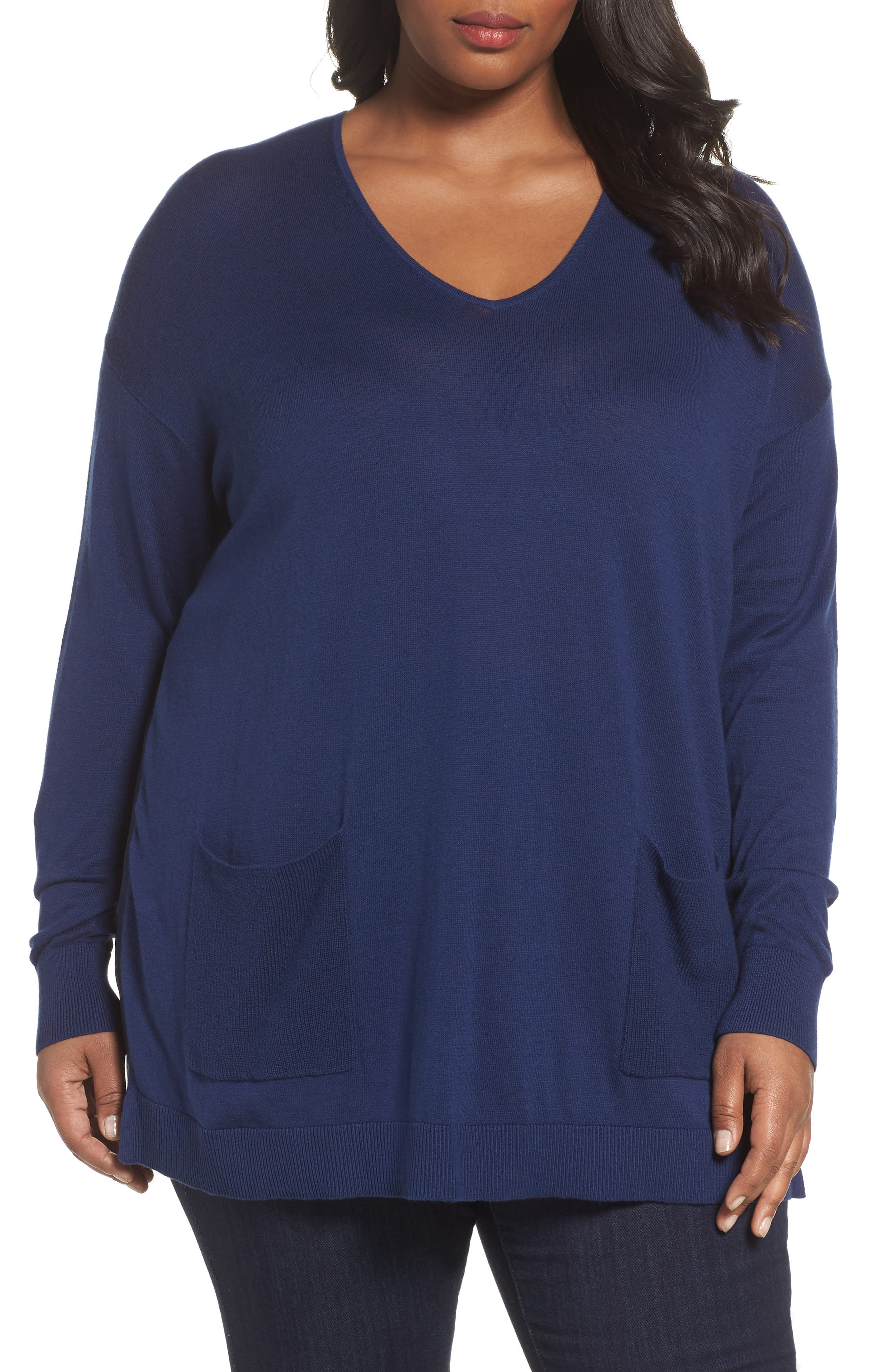 Alternate Image 1 Selected - Sejour Mixed Media Pullover (Plus Size)