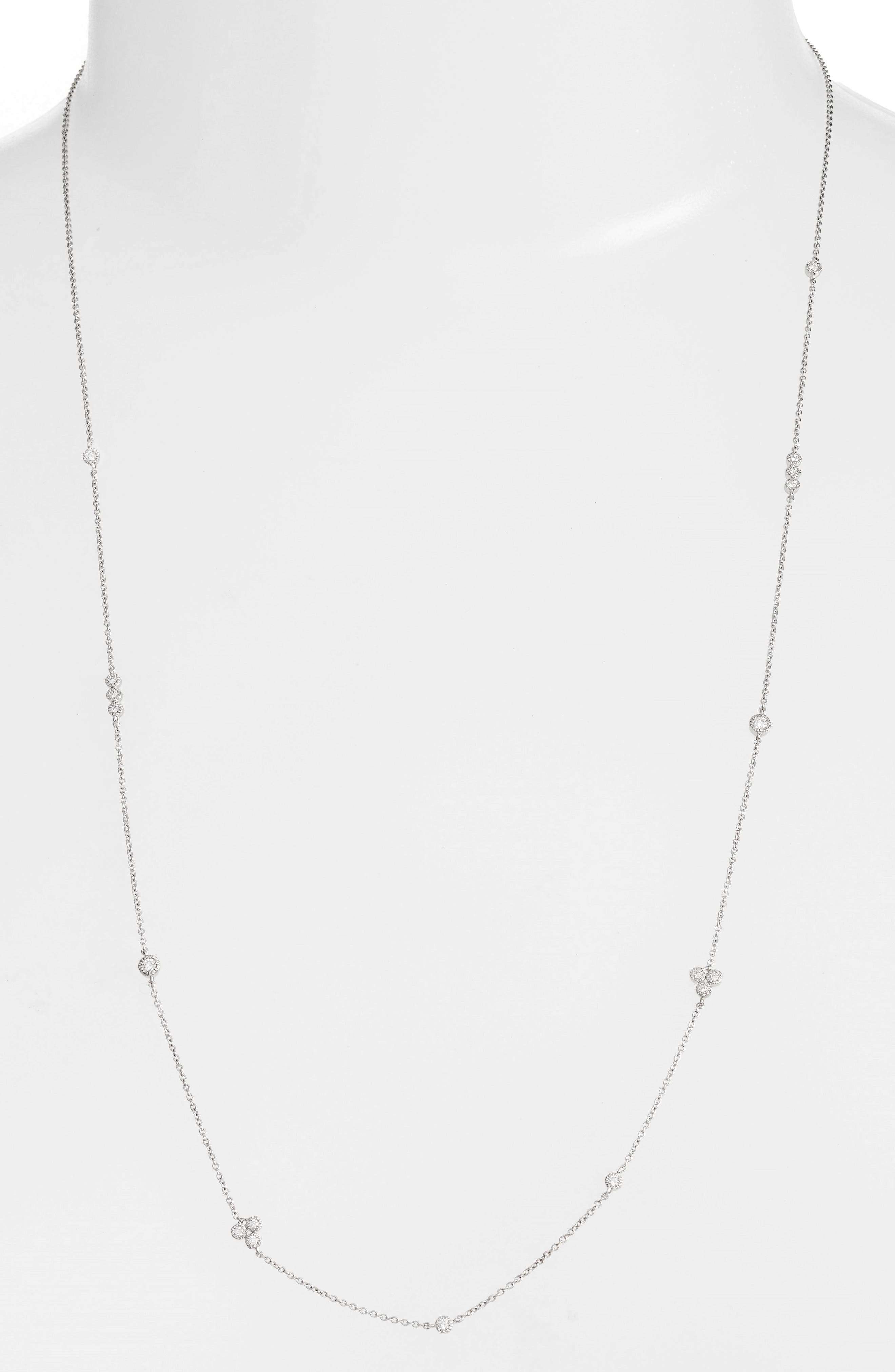 BONY LEVY Harlowe Long Diamond Station Necklace