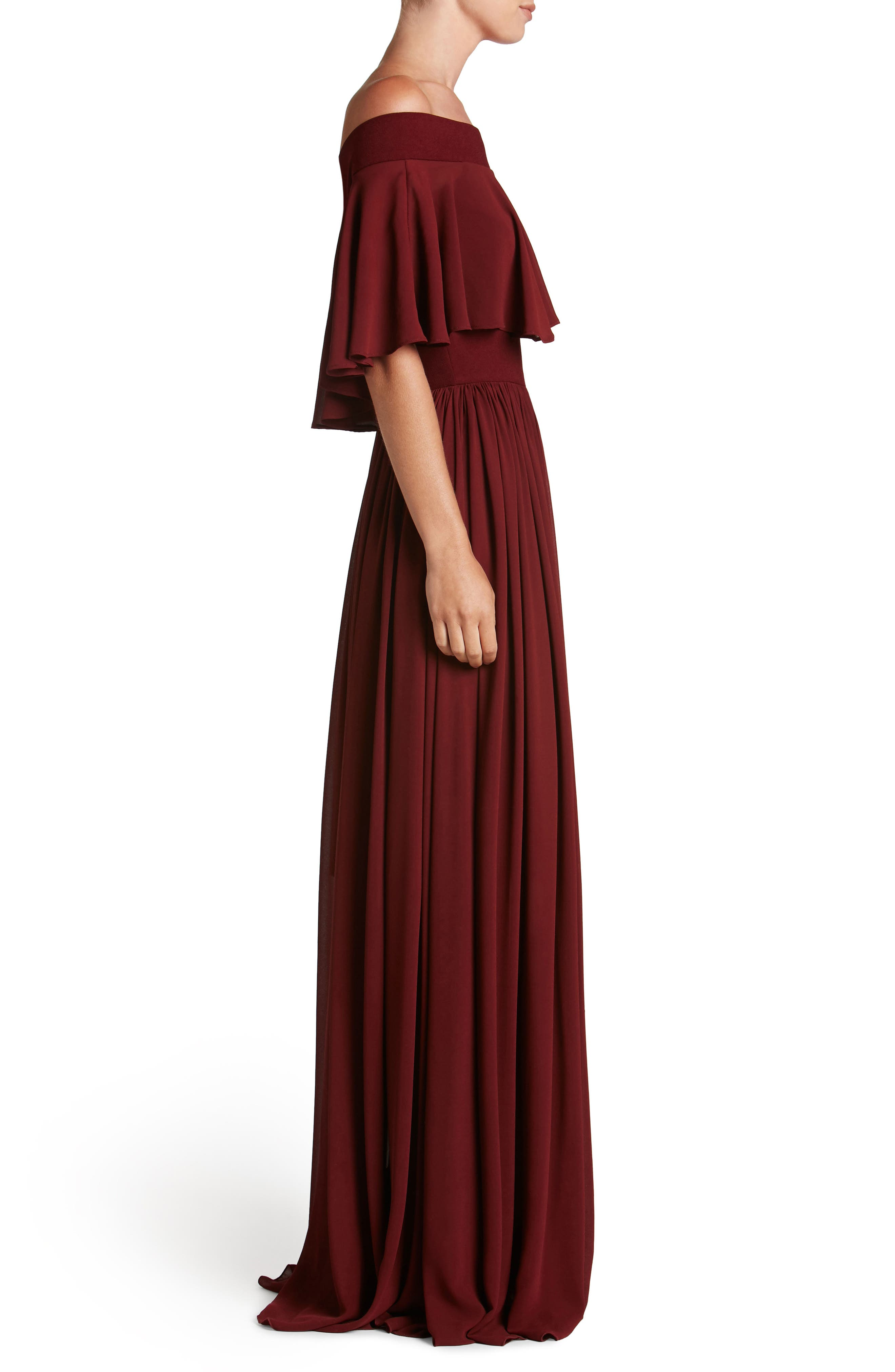 Alternate Image 3  - Dress the Population Violet Off the Shoulder Chiffon Gown