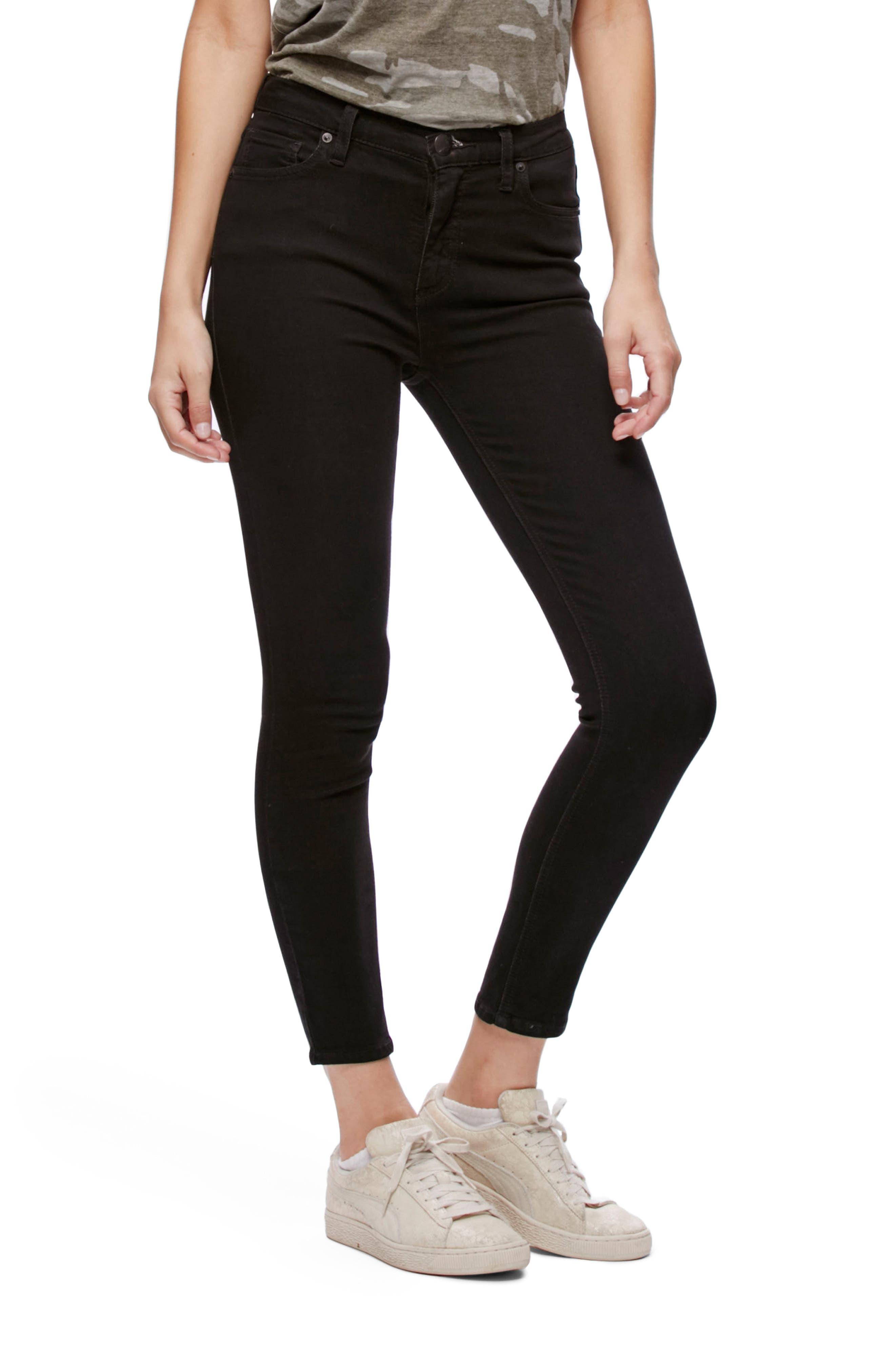 Gummy High Waist Crop Jeans,                         Main,                         color, Black