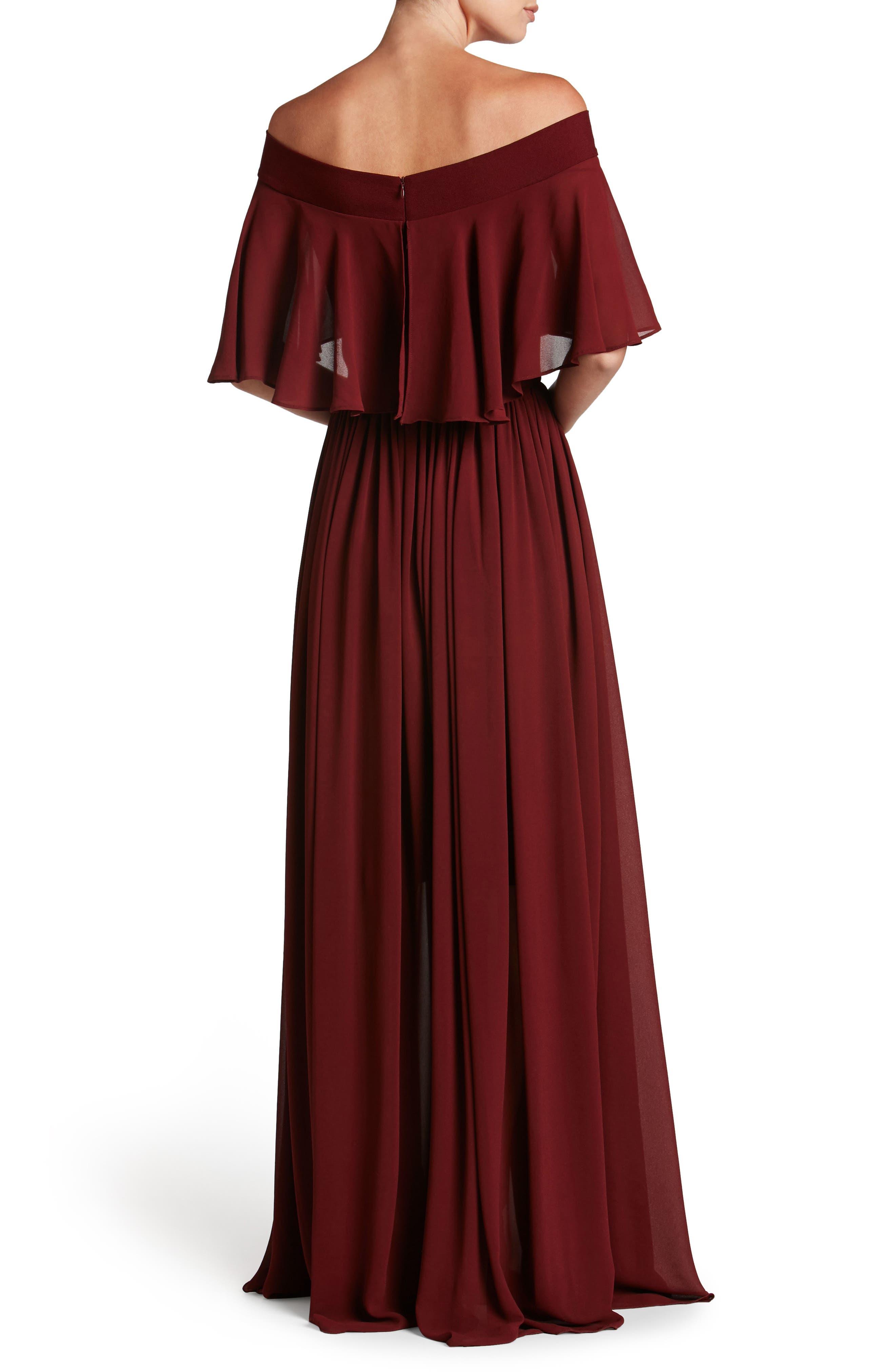 Alternate Image 2  - Dress the Population Violet Off the Shoulder Chiffon Gown