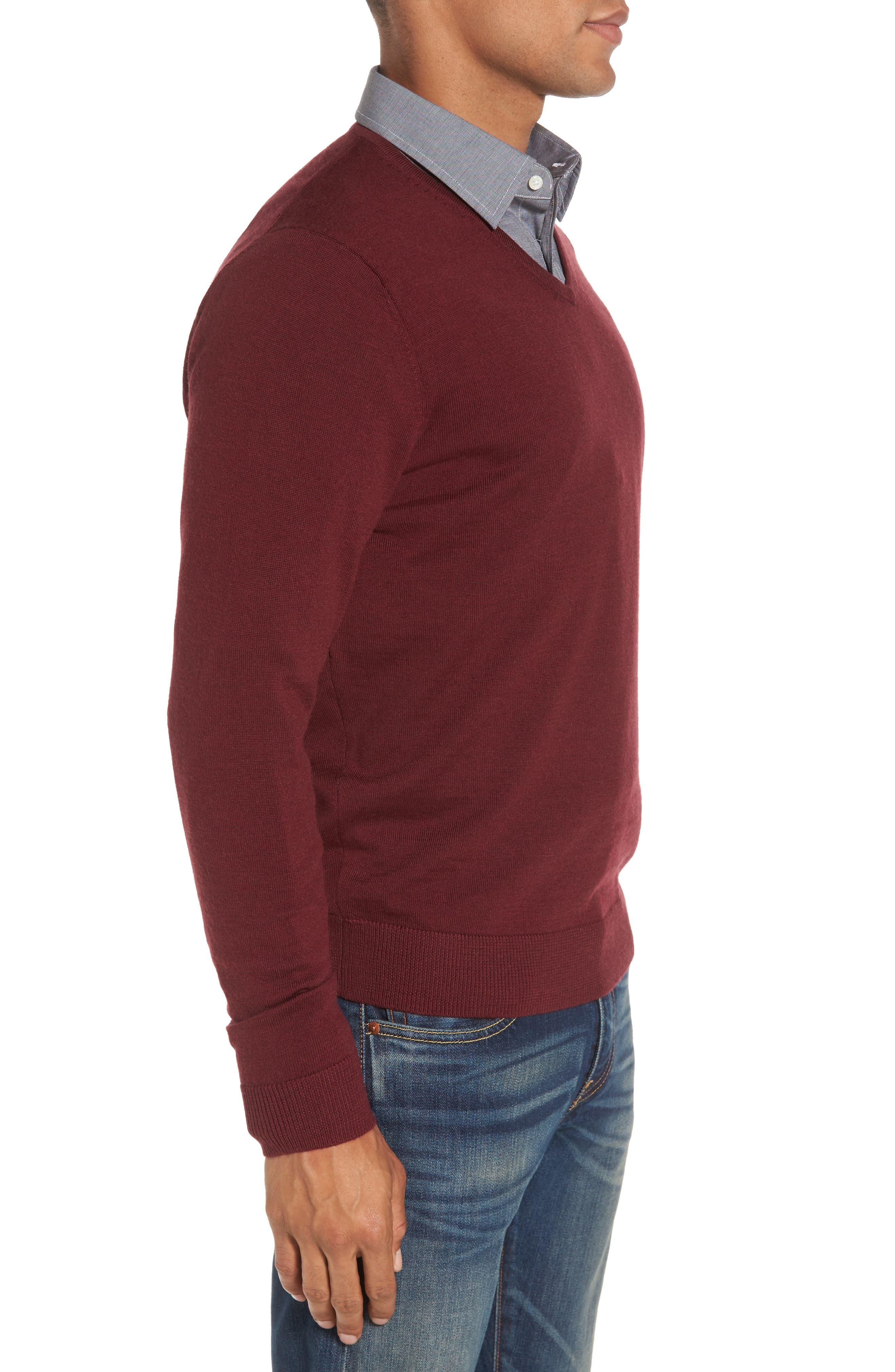 V-Neck Merino Wool Sweater,                             Alternate thumbnail 3, color,                             Burgundy Stem