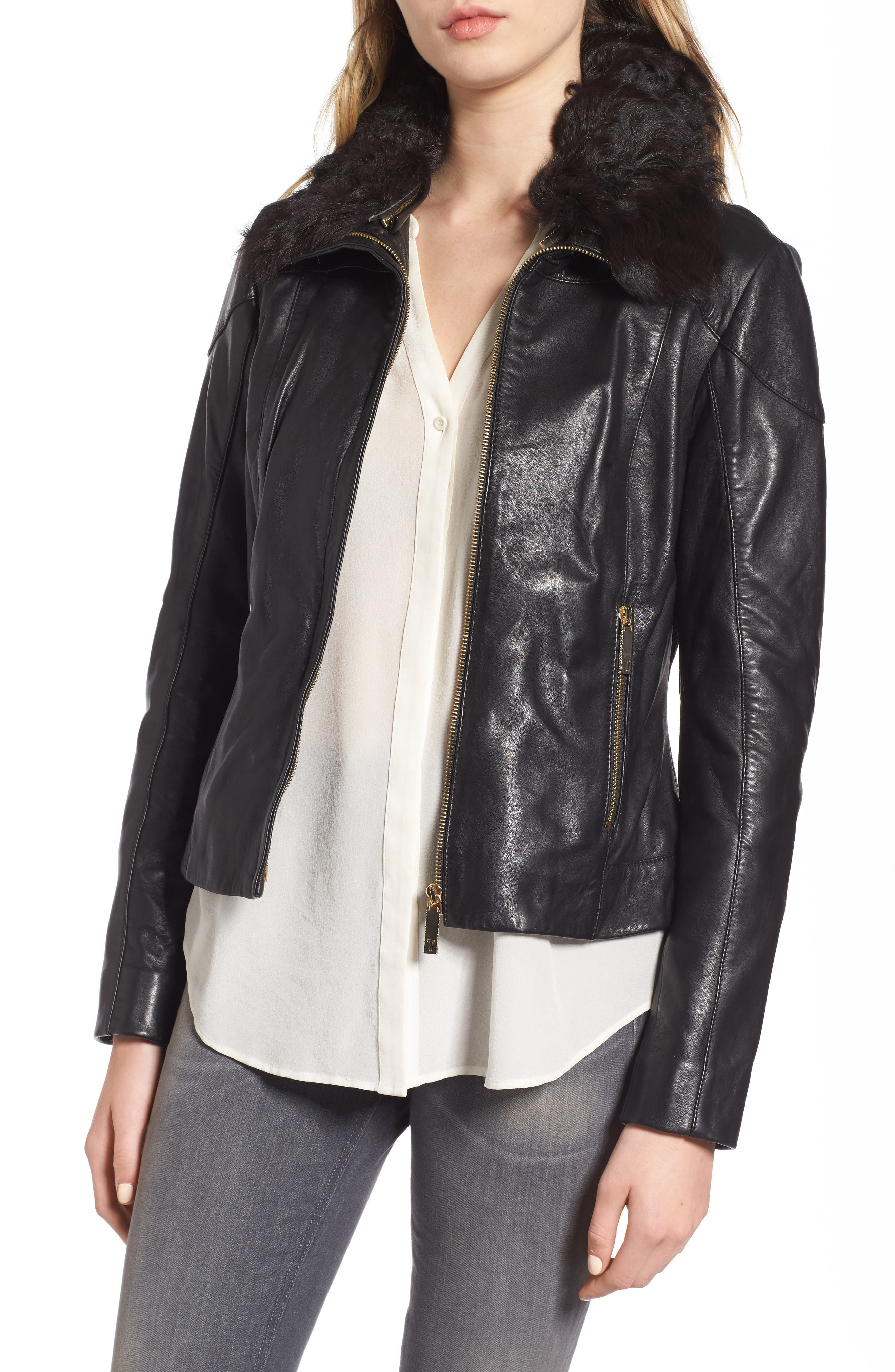 Leather Jacket with Detachable Genuine Shearling,                         Main,                         color, Black