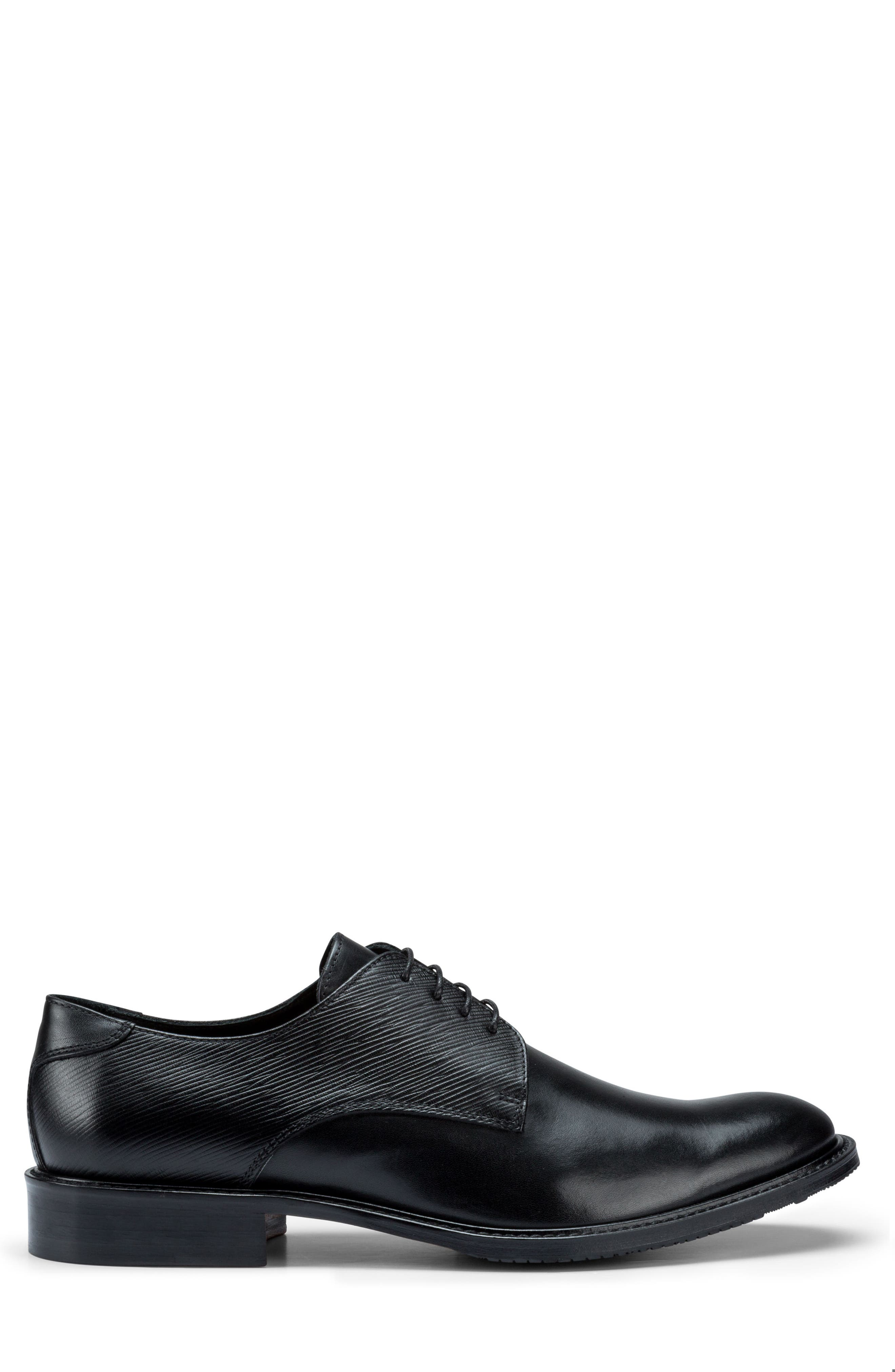 Sorrento Plain Toe Derby,                             Alternate thumbnail 3, color,                             Nero Leather