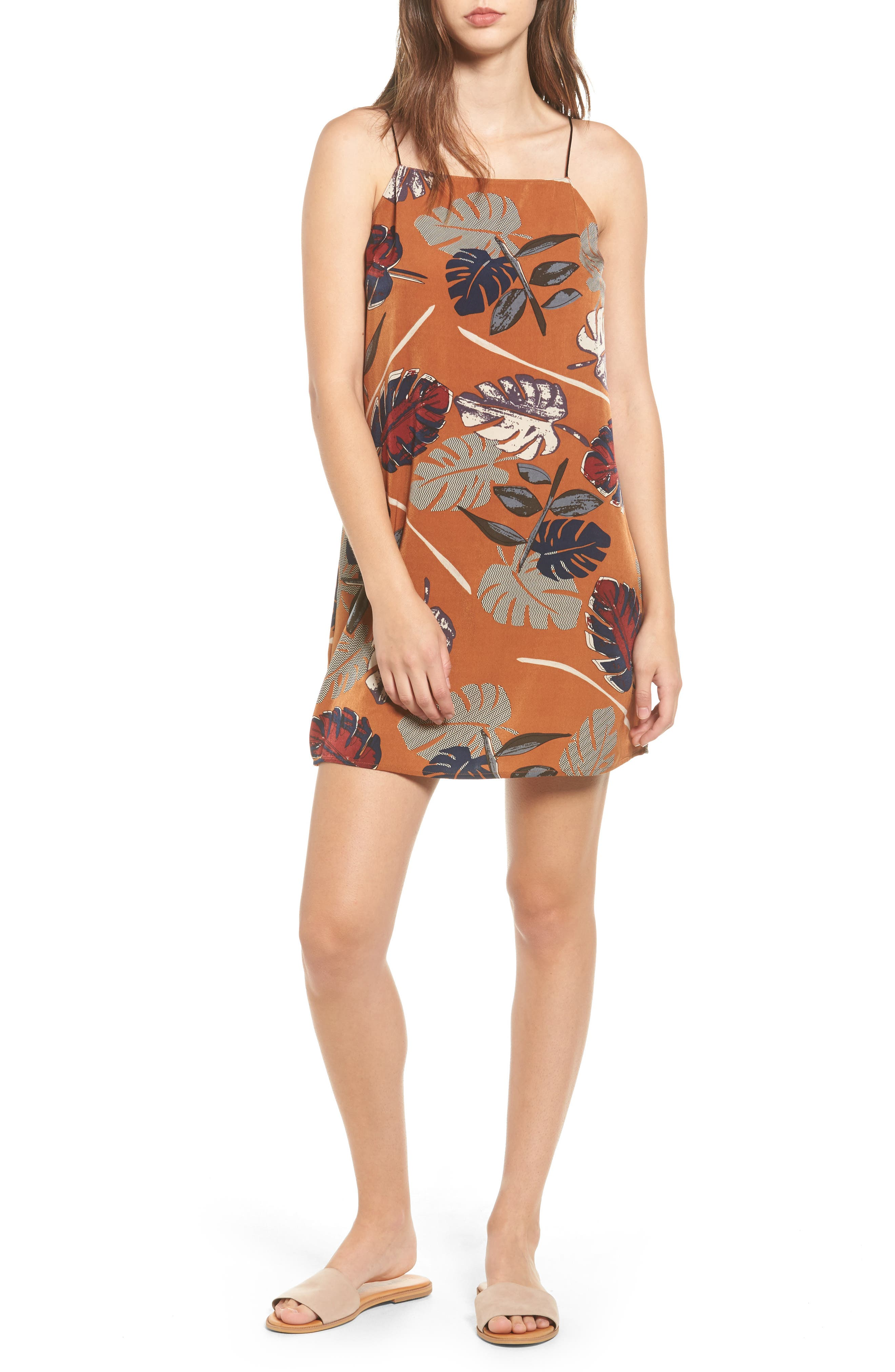 Square Neck Slipdress,                         Main,                         color, Rust Leaf Print