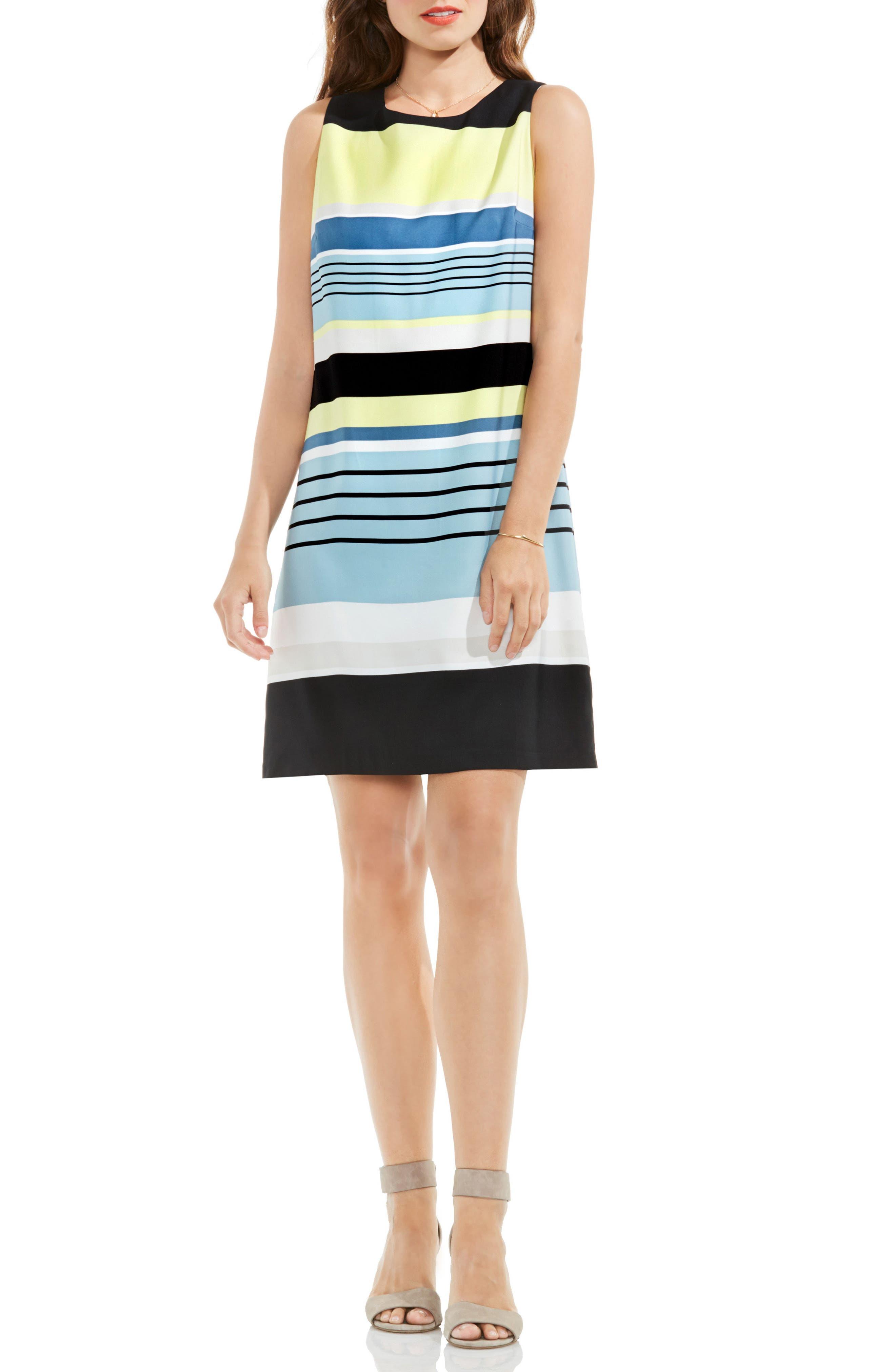 Stripe Harmony Shift Dress,                         Main,                         color, Aqua Sphere