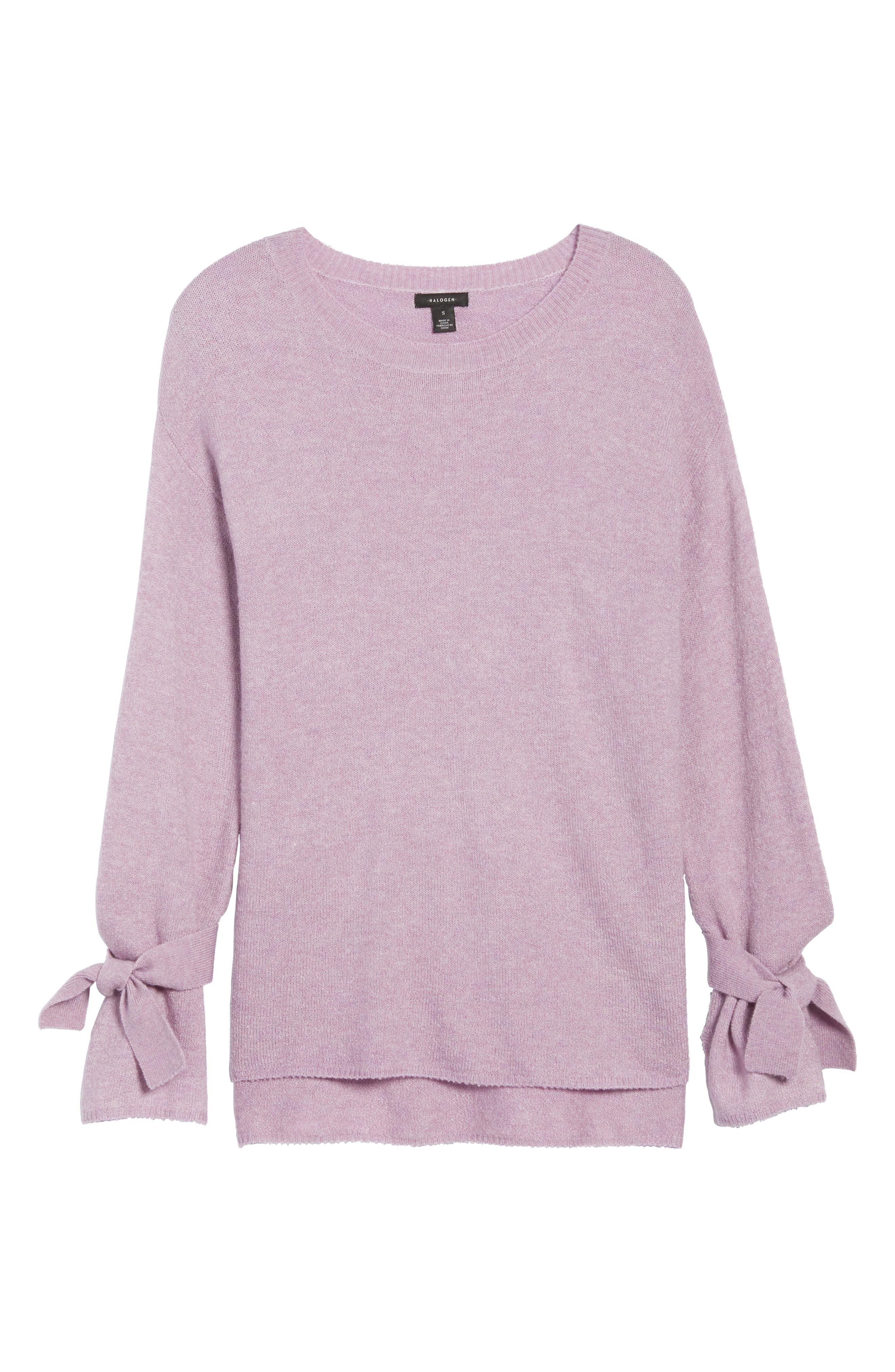 Tie Bell Sleeve Sweater,                             Alternate thumbnail 6, color,                             Purple Mist