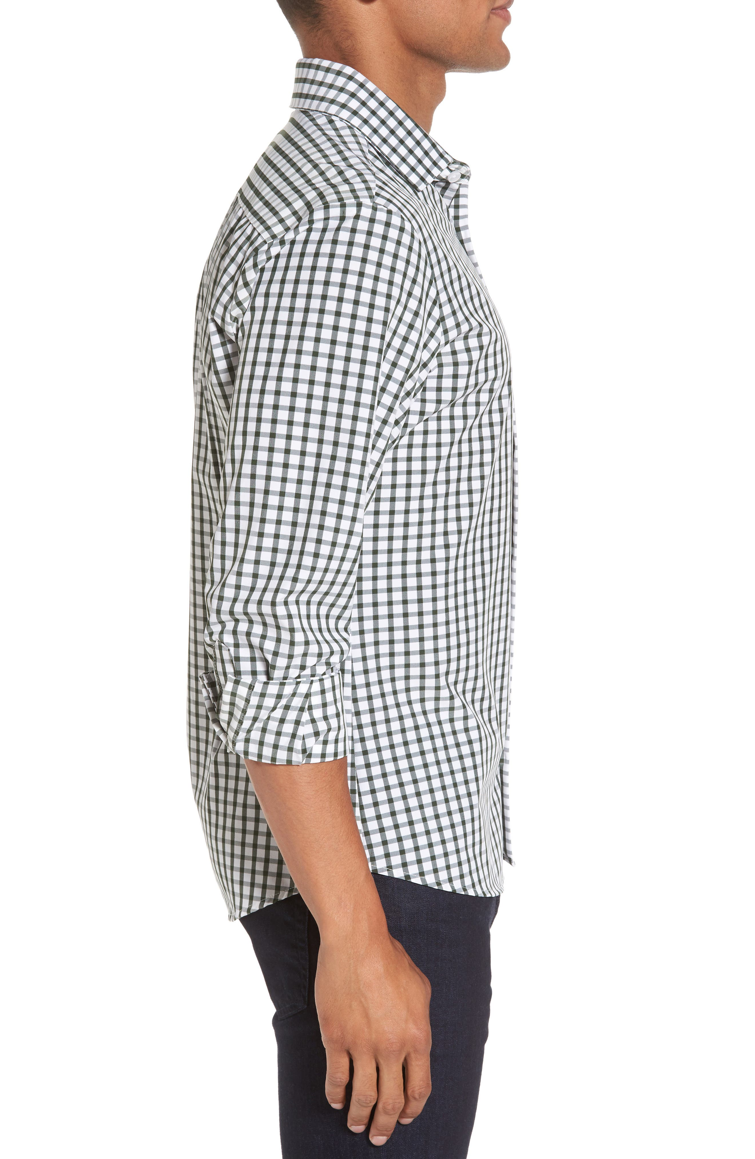 Turner Green Gingham Sport Shirt,                             Alternate thumbnail 4, color,                             Green
