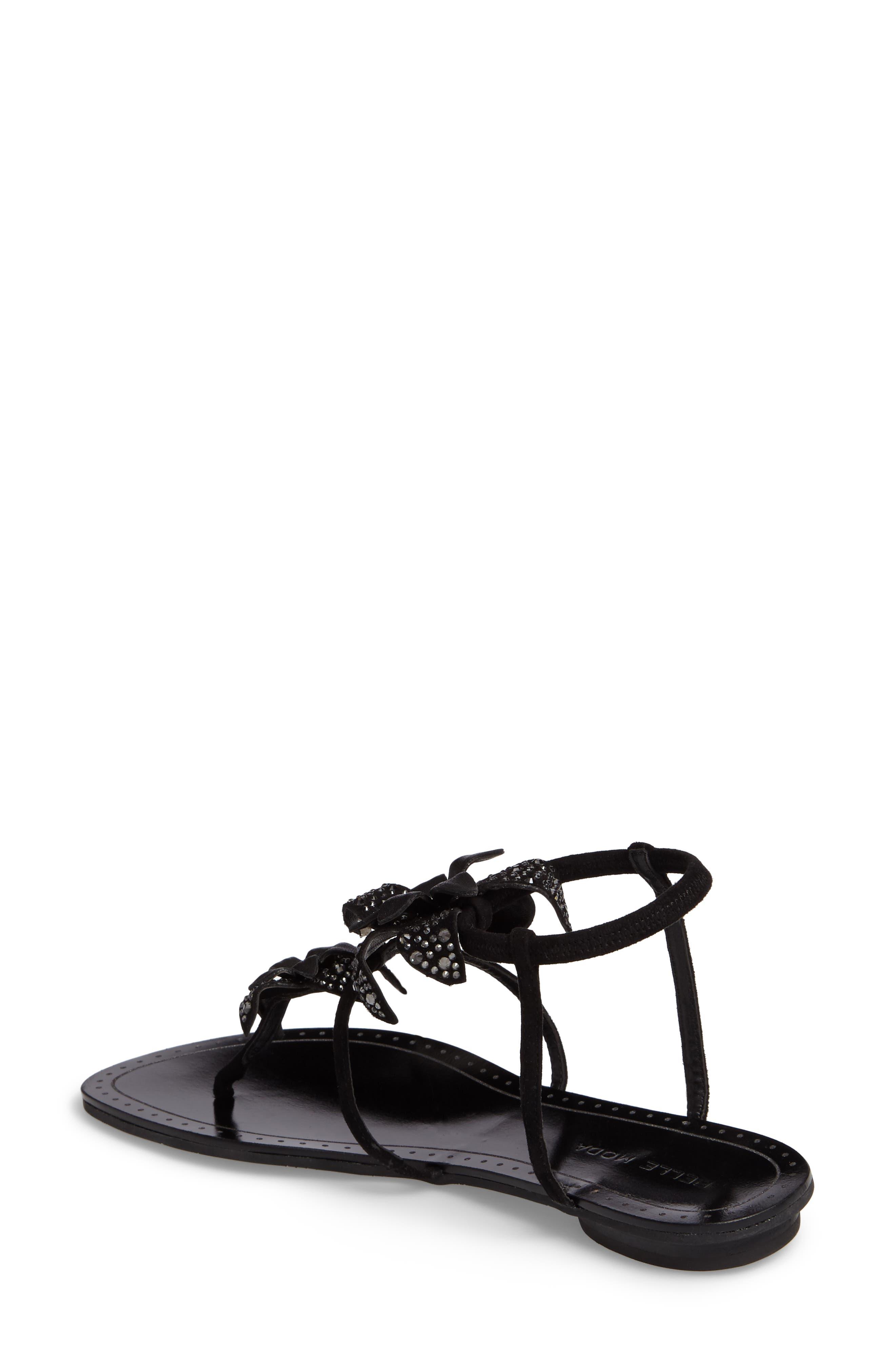Ellis Strappy Flowered Sandal,                             Alternate thumbnail 2, color,                             Black Leather