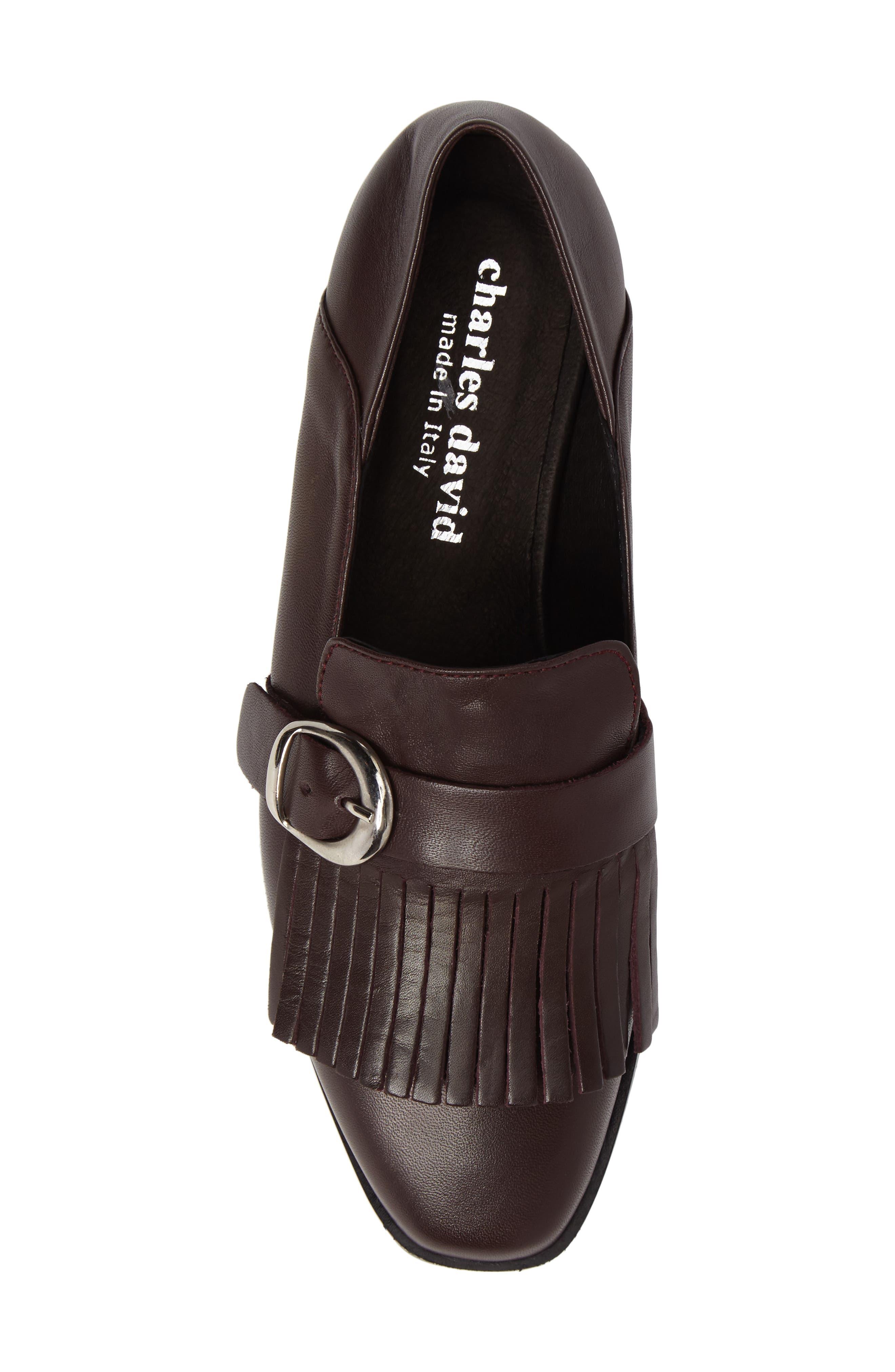 Dame Fringed Loafer Flat,                             Alternate thumbnail 5, color,                             Burgundy Leather