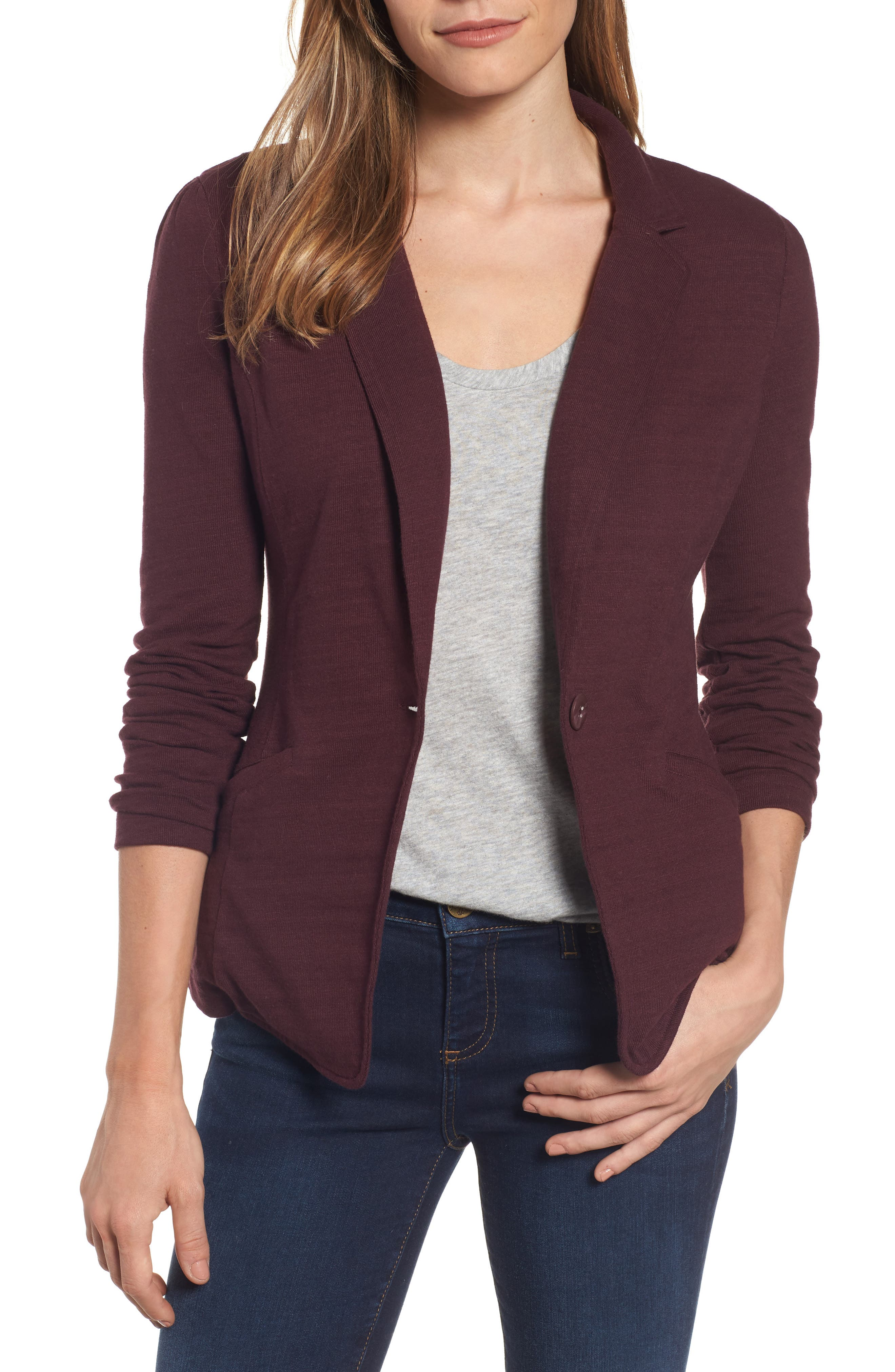 Alternate Image 1 Selected - Caslon® Knit One-Button Blazer (Petite)