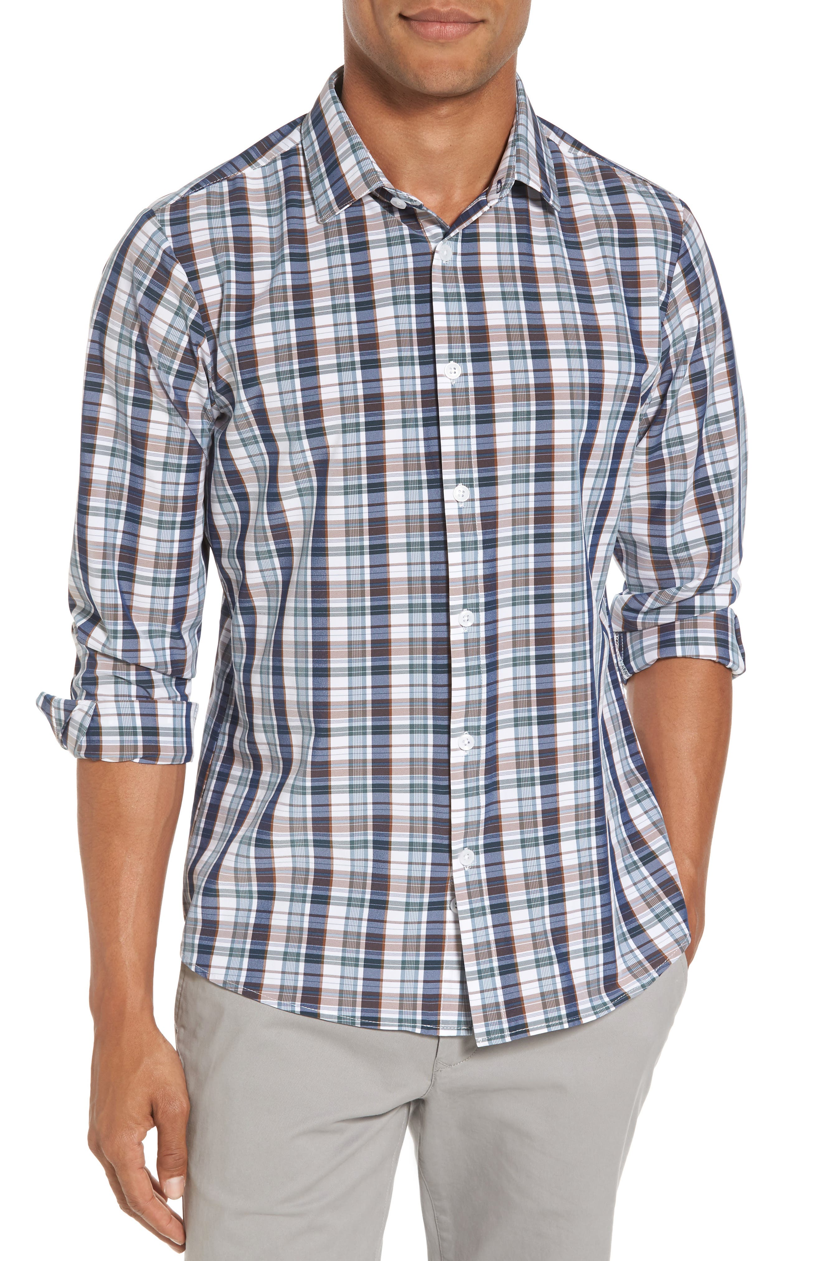 Mizzen+Main Russell Madras Plaid Performance Sport Shirt (Regular & Tall)
