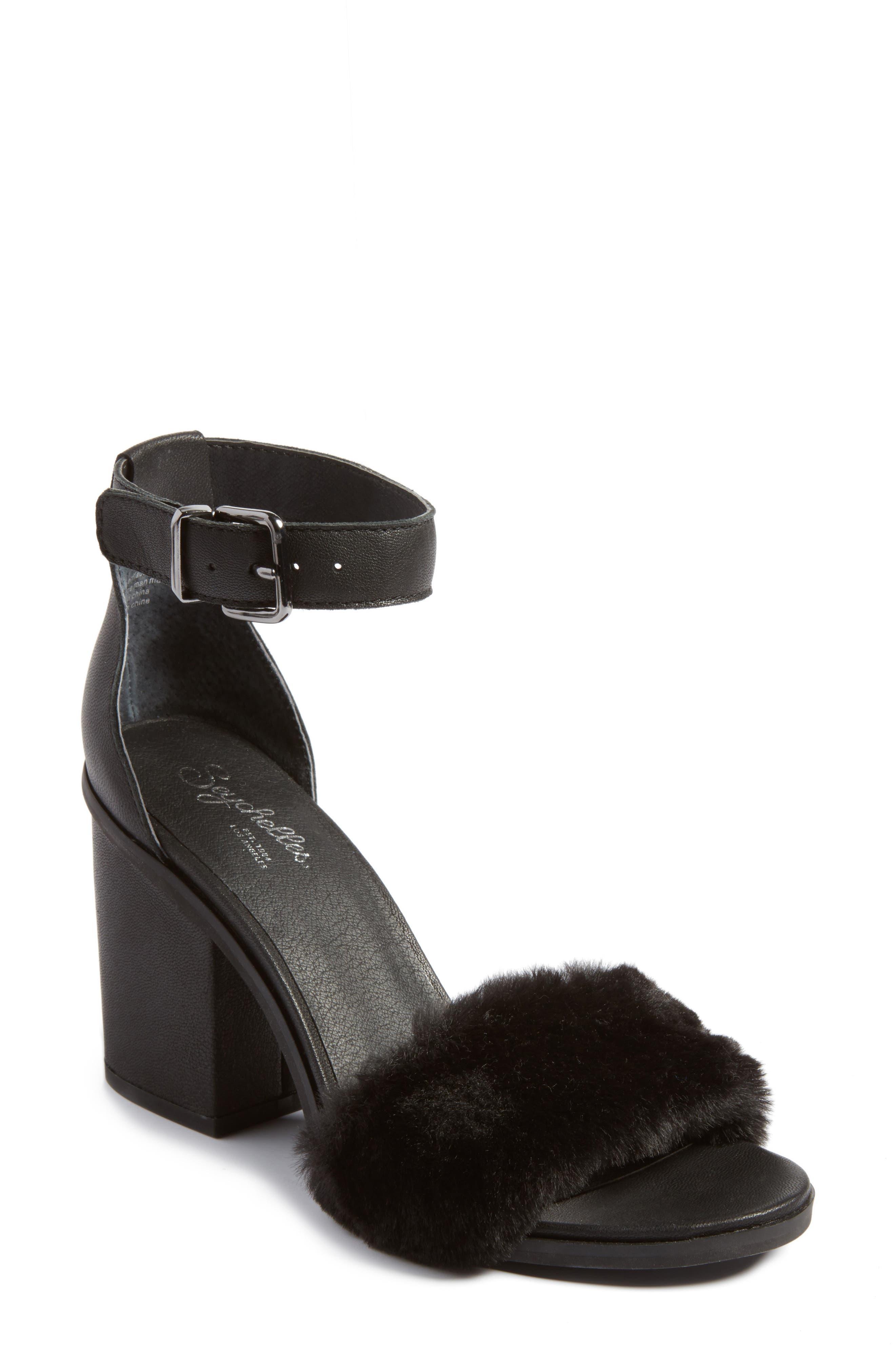Faux Fur Ankle Strap Sandal,                             Main thumbnail 1, color,                             Black Faux Fur Leather