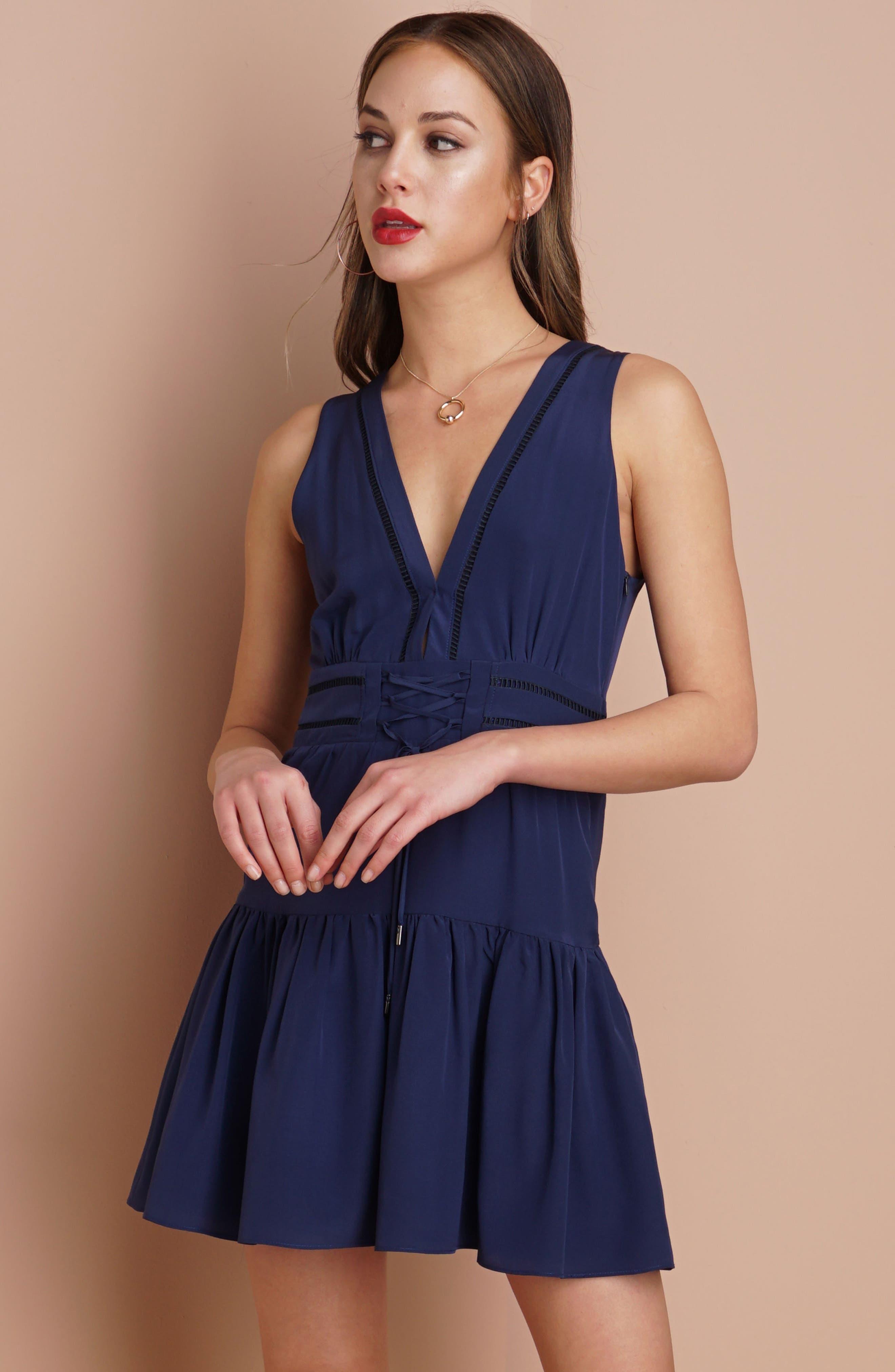 Bilson Fit & Flare Silk Dress,                             Alternate thumbnail 2, color,                             Marine