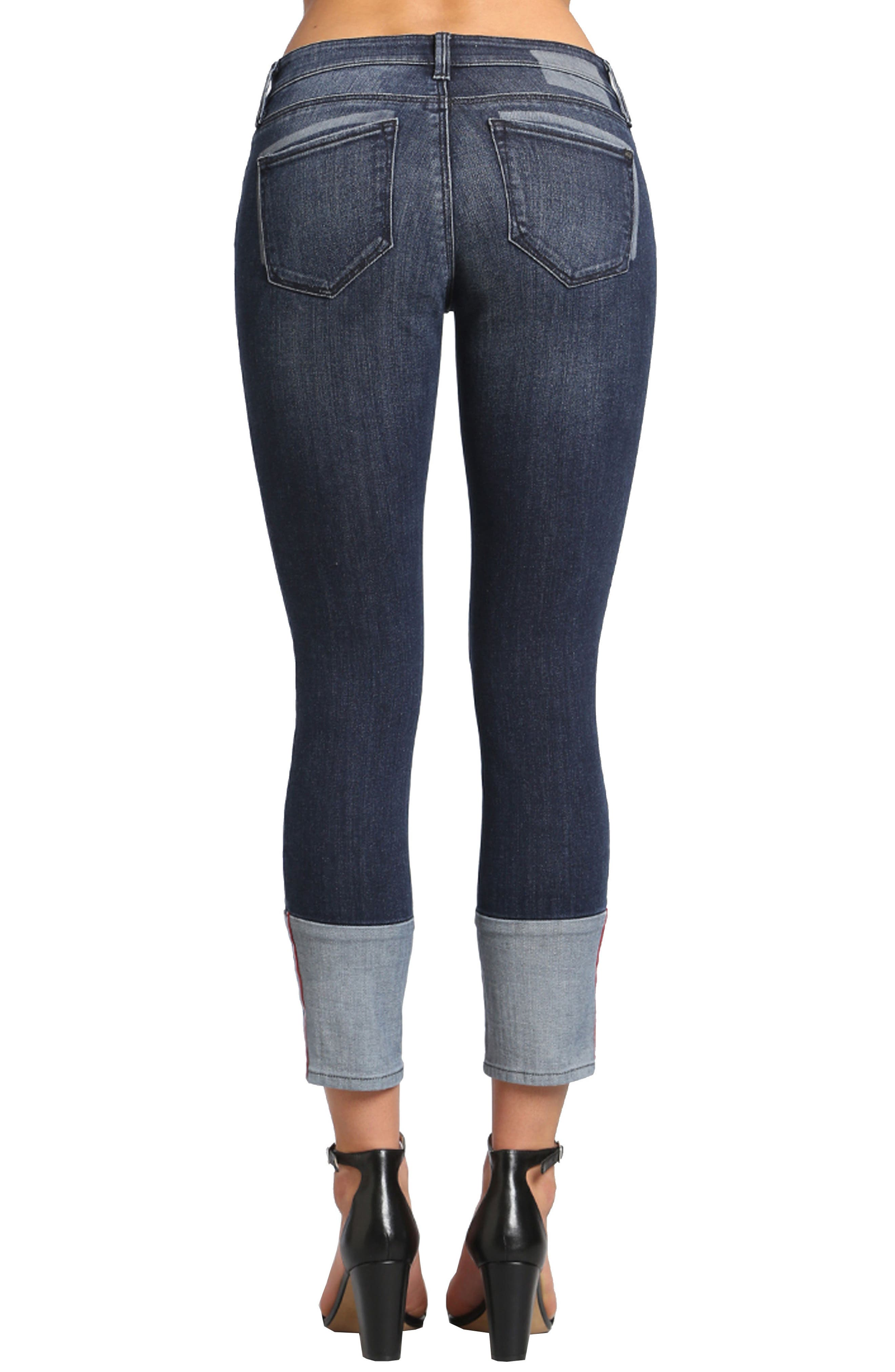 Caisy Cuffed Skinny Crop Jeans,                             Alternate thumbnail 2, color,                             Dark Vintage