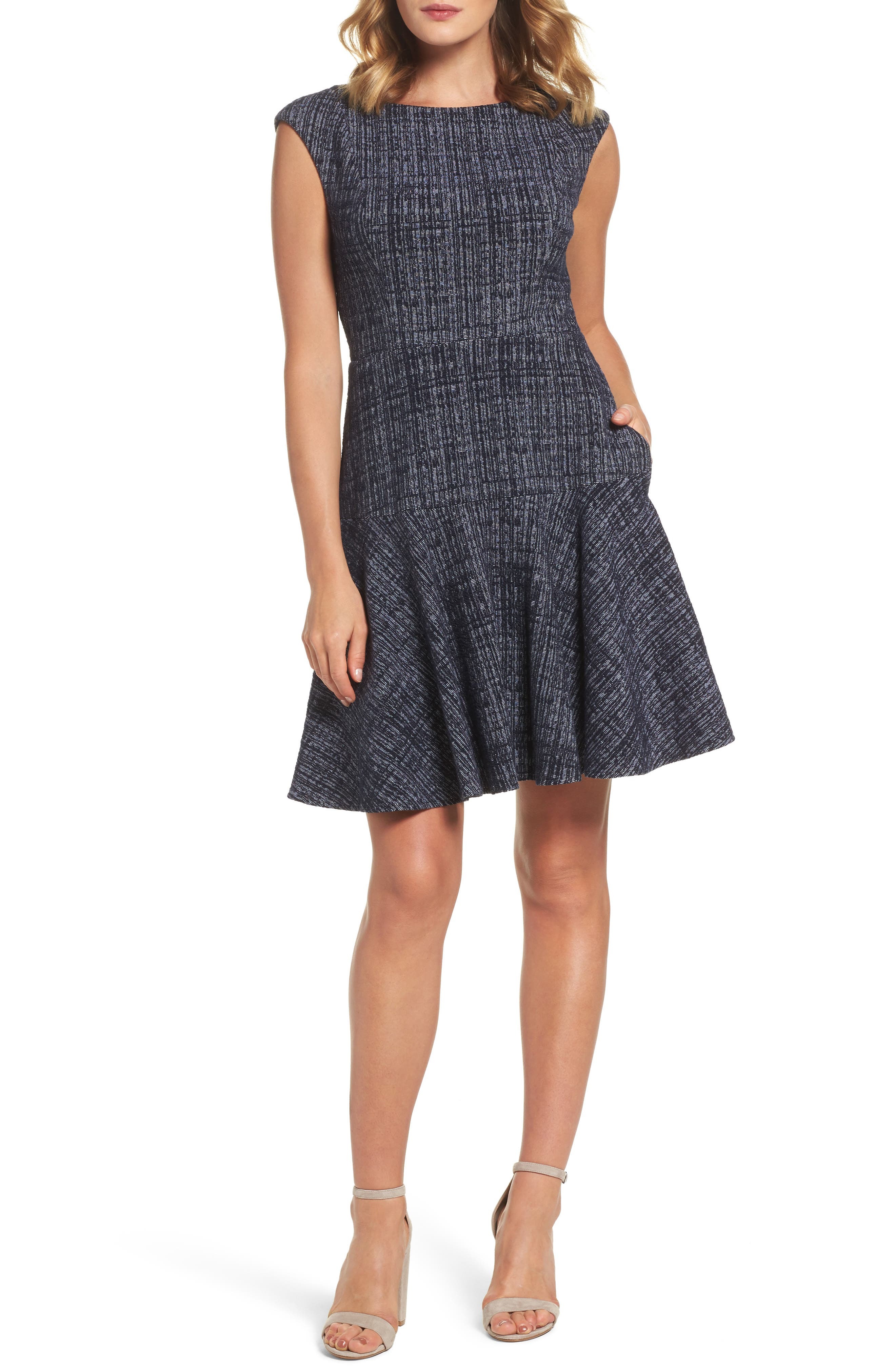 Tweed Fit & Flare Dress,                         Main,                         color, Navy