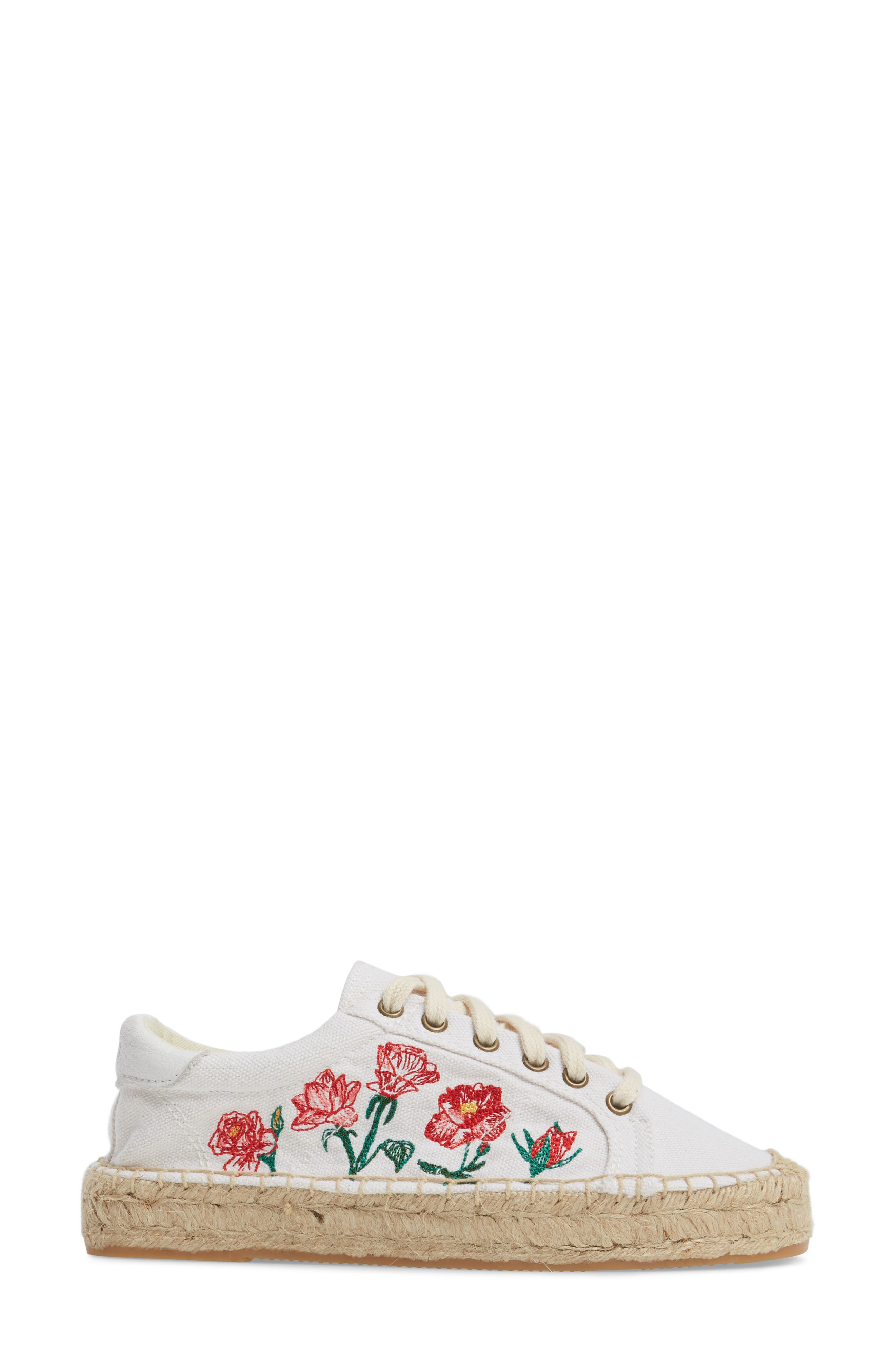 Floral Embroidered Espadrille Sneaker,                             Alternate thumbnail 3, color,                             White Canvas