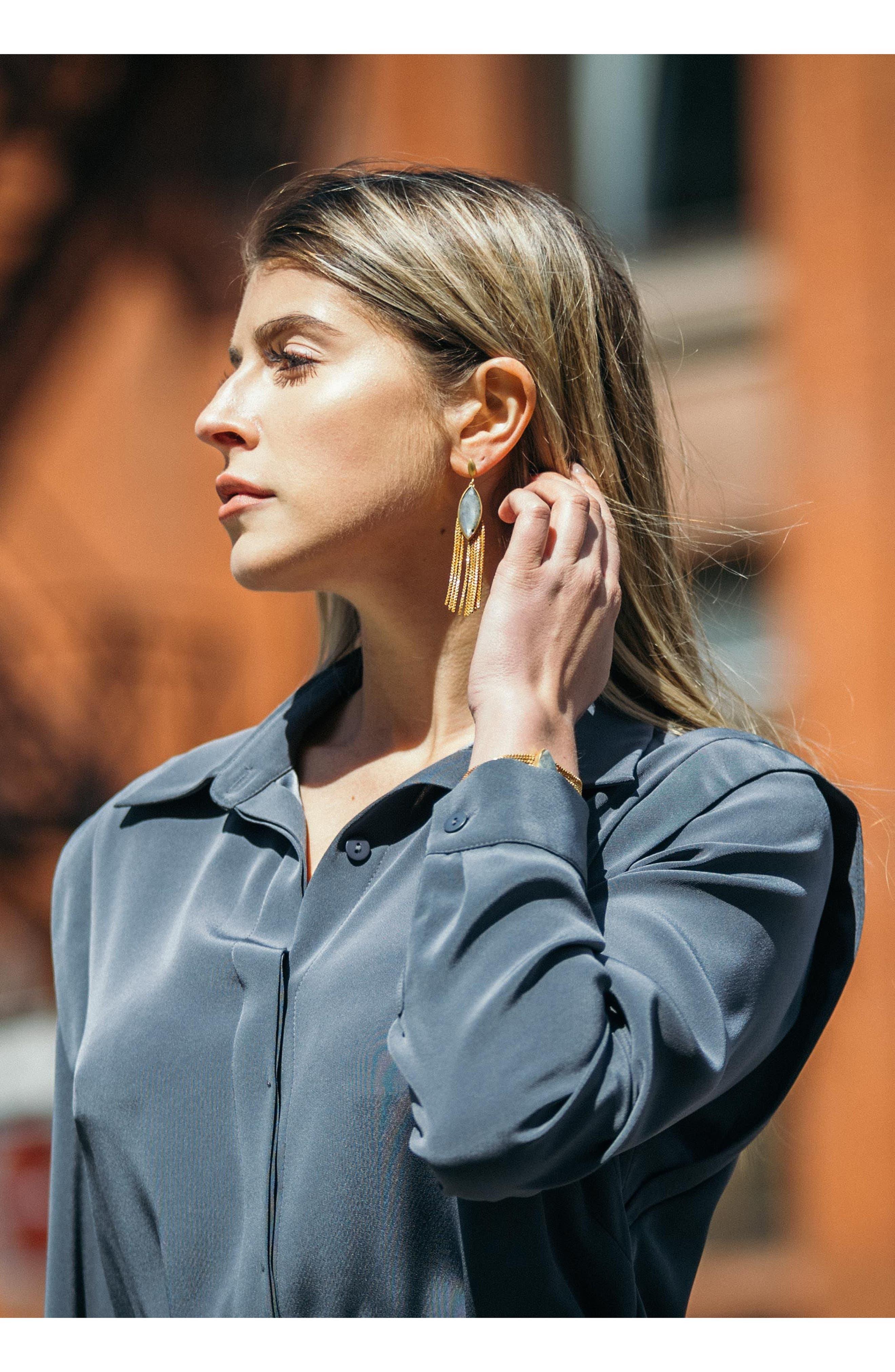 Ornate Semiprecious Stone Fringe Earrings,                             Alternate thumbnail 4, color,                             Lemon Quartz