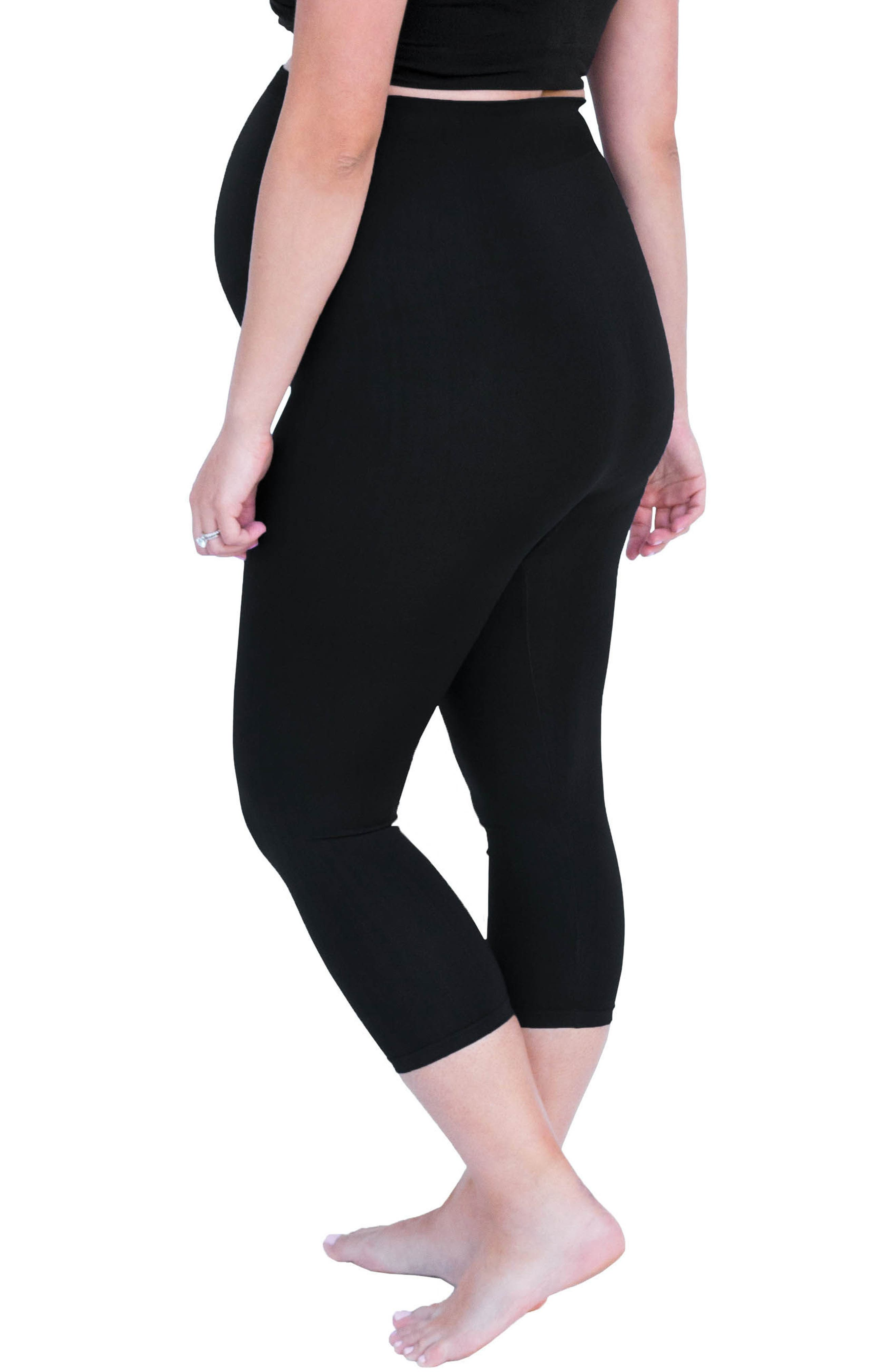 Bump Support<sup>™</sup> Capri Leggings,                             Alternate thumbnail 3, color,                             Black