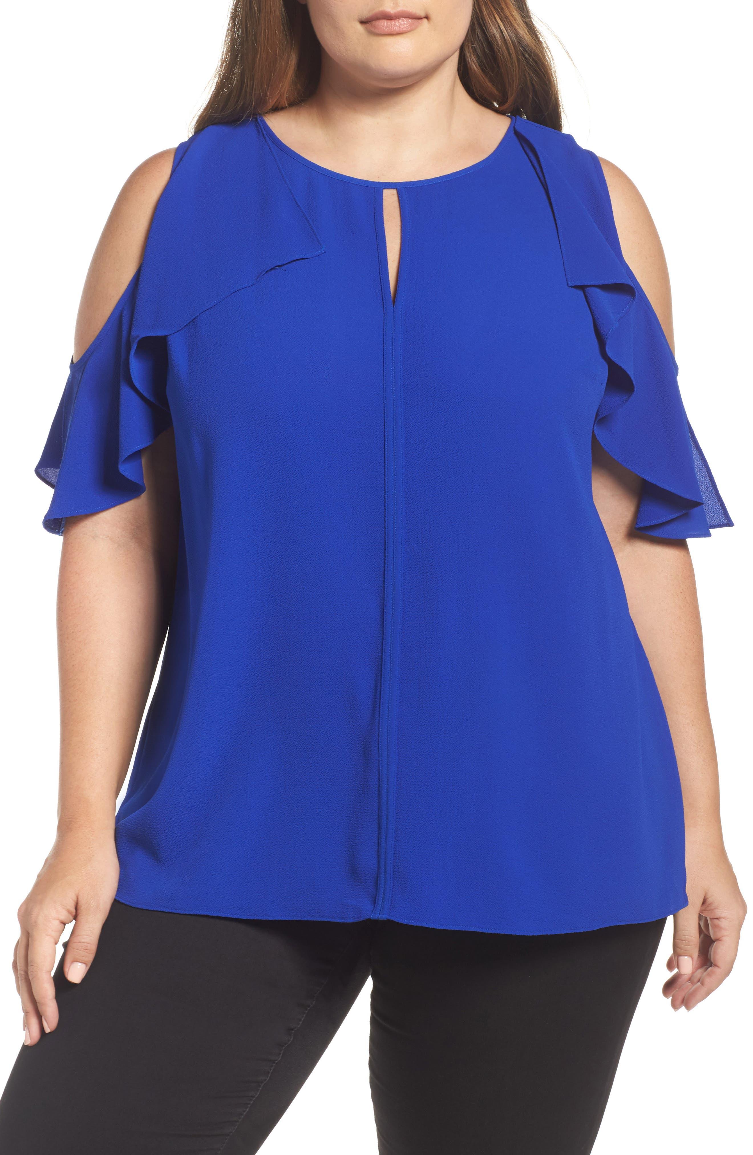 Flutter Sleeve Cold Shoulder Blouse,                         Main,                         color, Vivid Blue